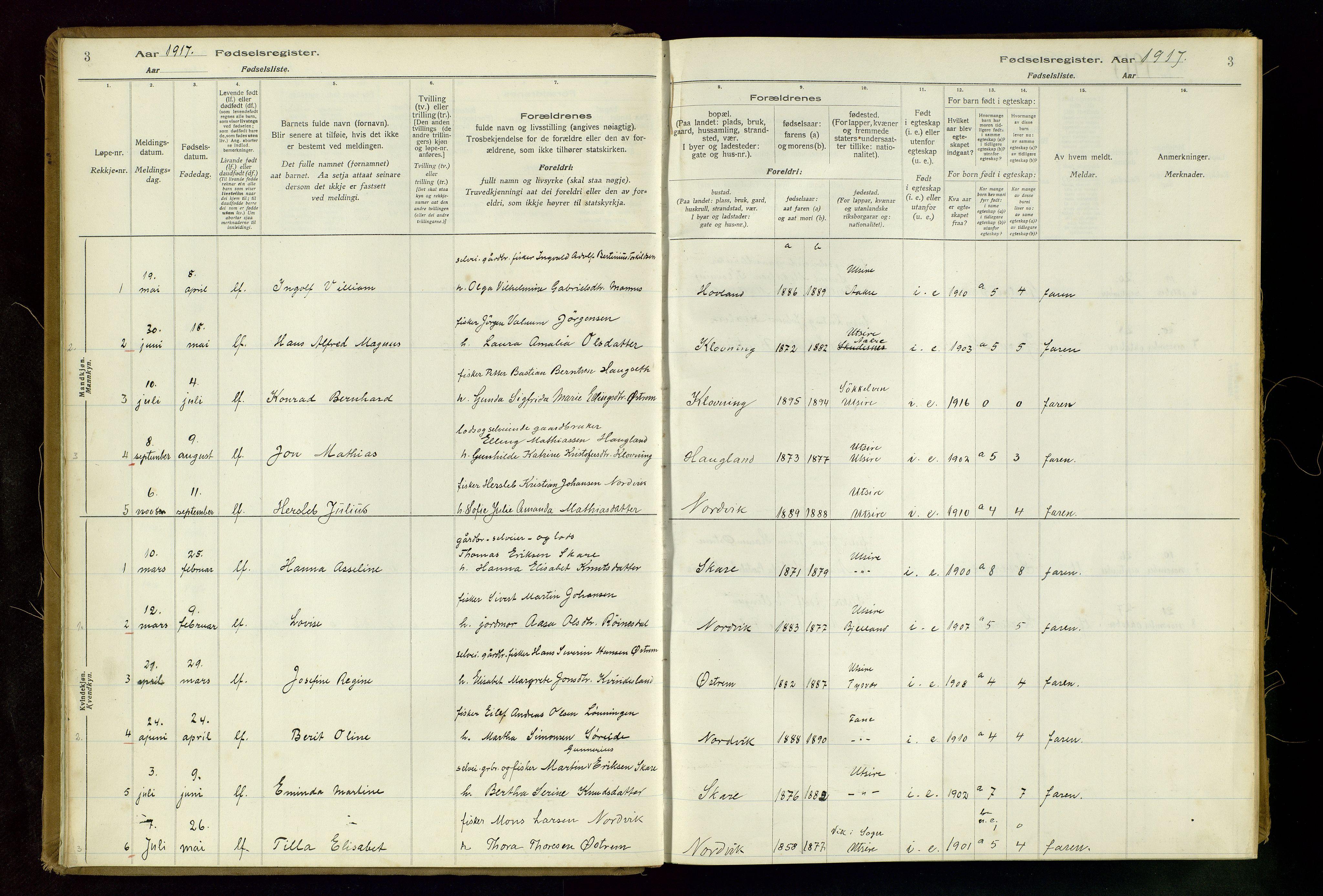 SAST, Torvastad sokneprestkontor, I/Id/L0001: Fødselsregister nr. 1, 1916-1982, s. 3