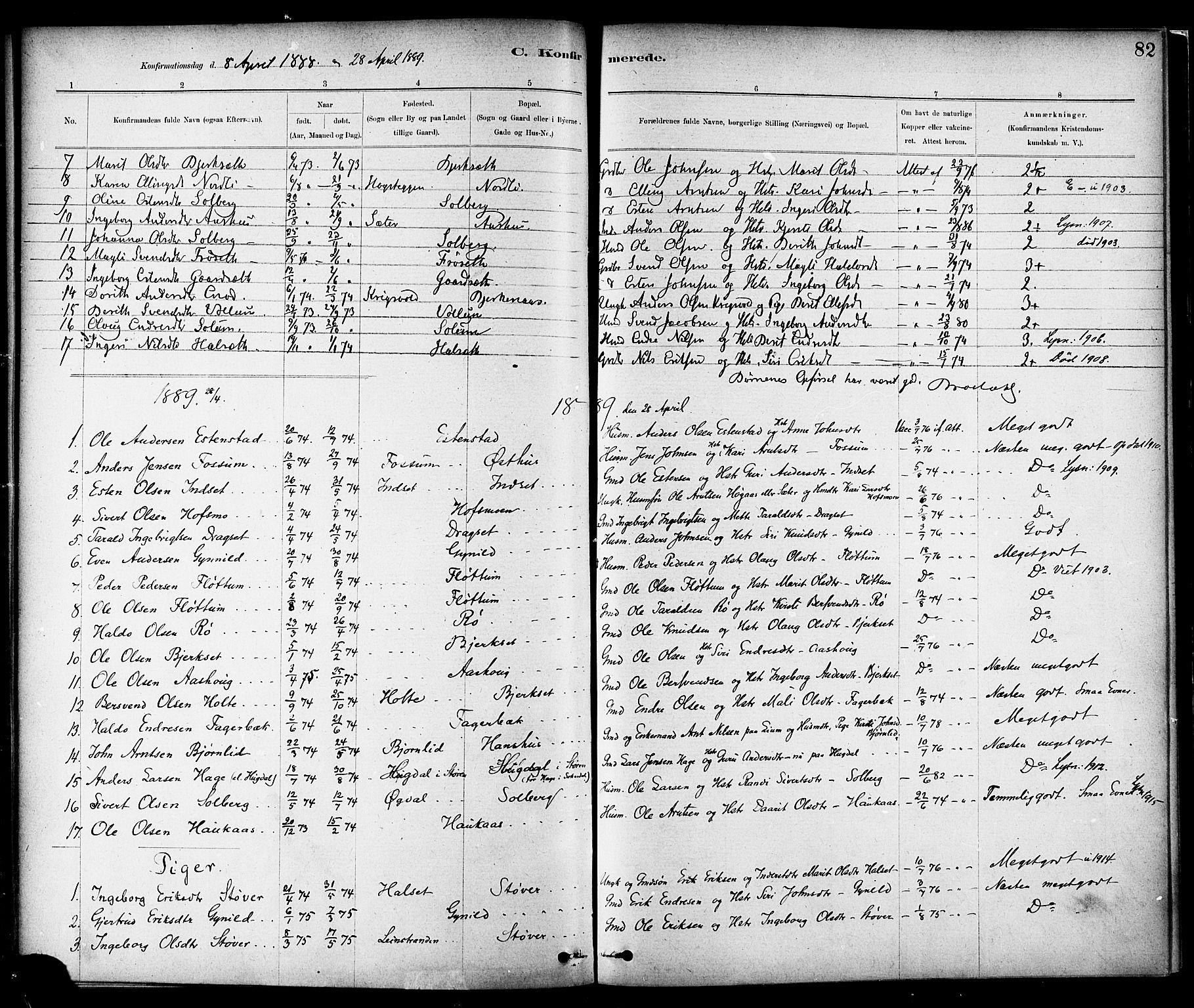 SAT, Ministerialprotokoller, klokkerbøker og fødselsregistre - Sør-Trøndelag, 689/L1040: Ministerialbok nr. 689A05, 1878-1890, s. 82