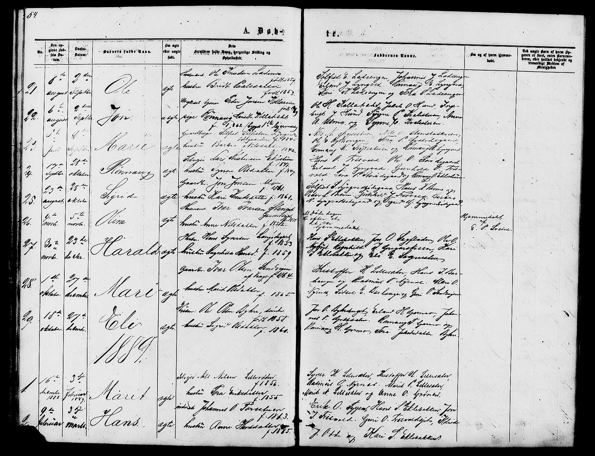 SAH, Lom prestekontor, L/L0005: Klokkerbok nr. 5, 1876-1901, s. 54-55
