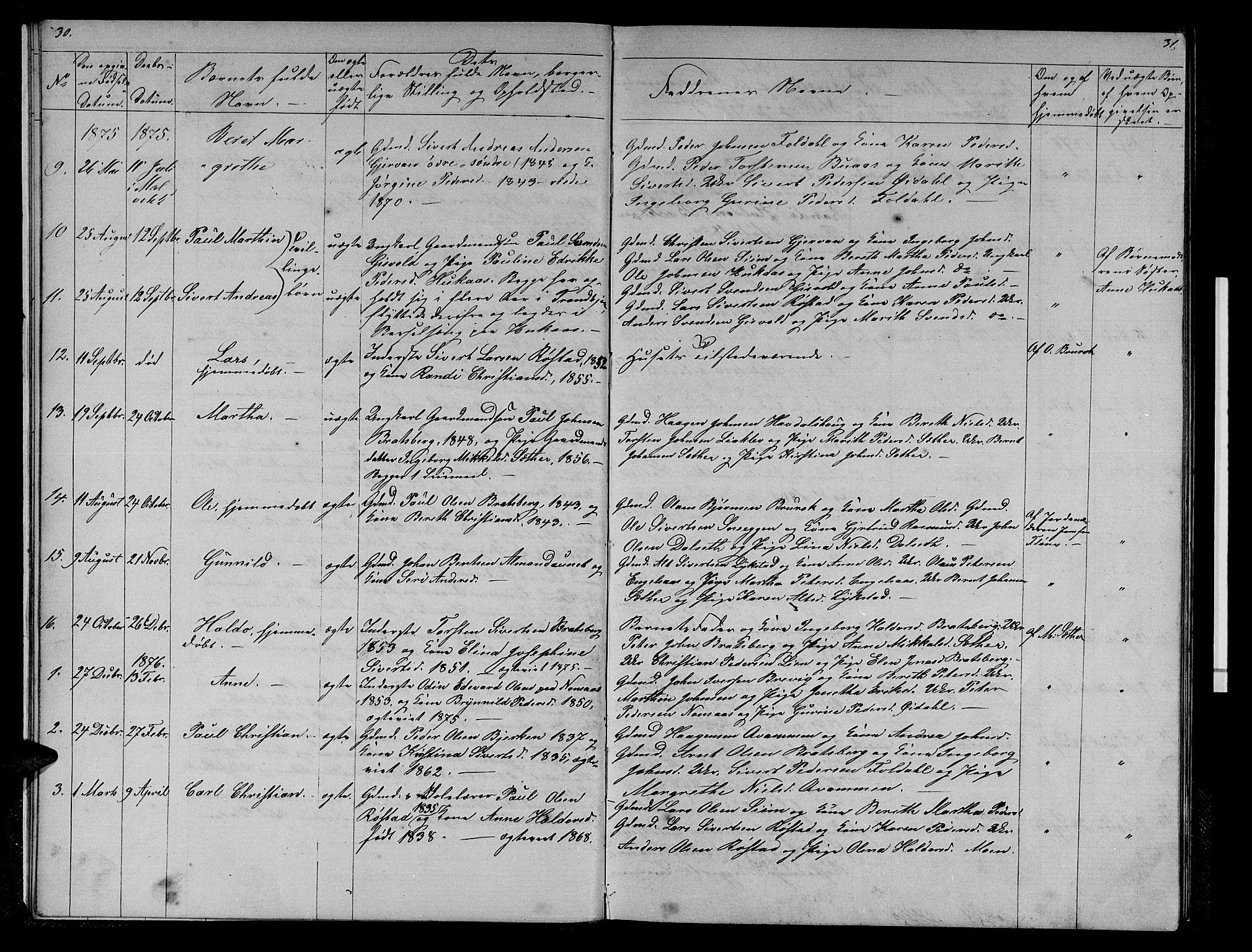 SAT, Ministerialprotokoller, klokkerbøker og fødselsregistre - Sør-Trøndelag, 608/L0340: Klokkerbok nr. 608C06, 1864-1889, s. 30-31