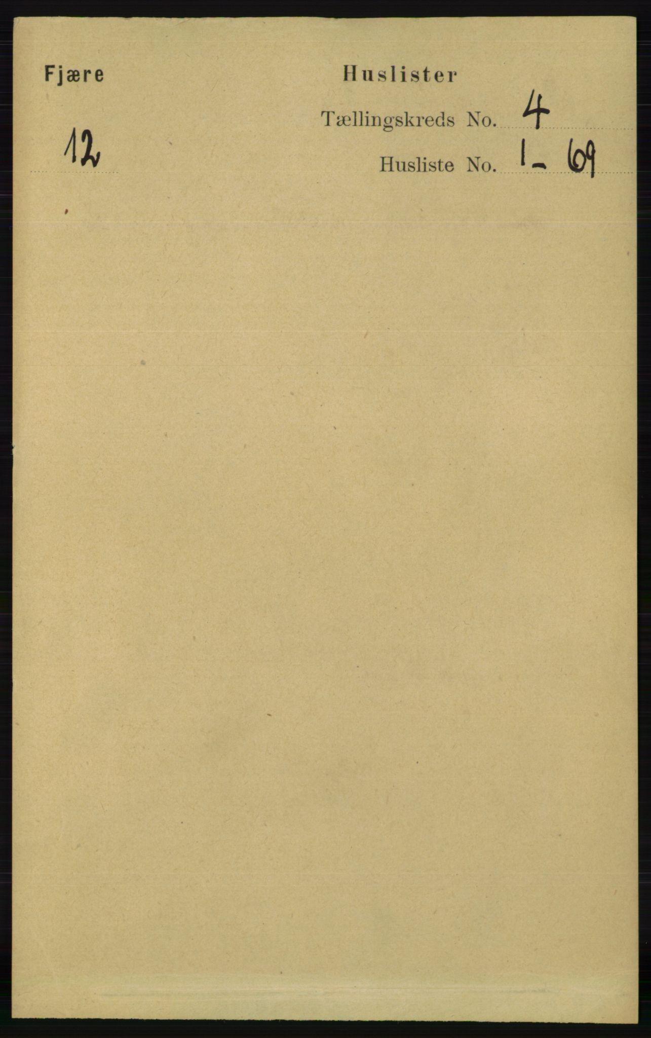 RA, Folketelling 1891 for 0923 Fjære herred, 1891, s. 1790