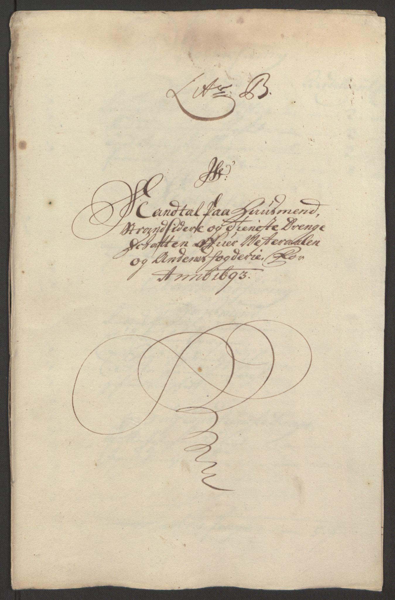 RA, Rentekammeret inntil 1814, Reviderte regnskaper, Fogderegnskap, R67/L4676: Fogderegnskap Vesterålen, Andenes og Lofoten, 1691-1693, s. 262