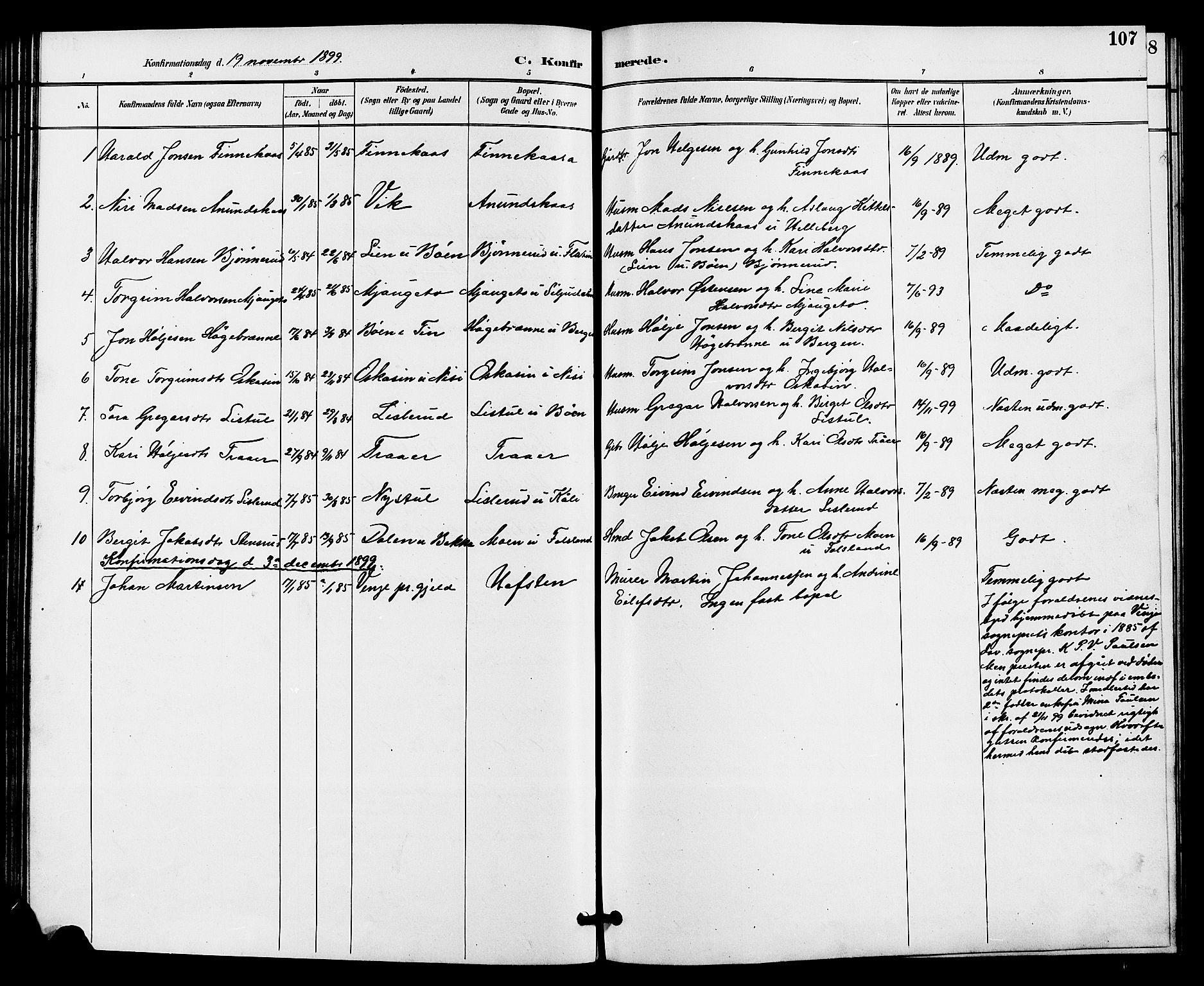 SAKO, Gransherad kirkebøker, G/Ga/L0003: Klokkerbok nr. I 3, 1887-1915, s. 107