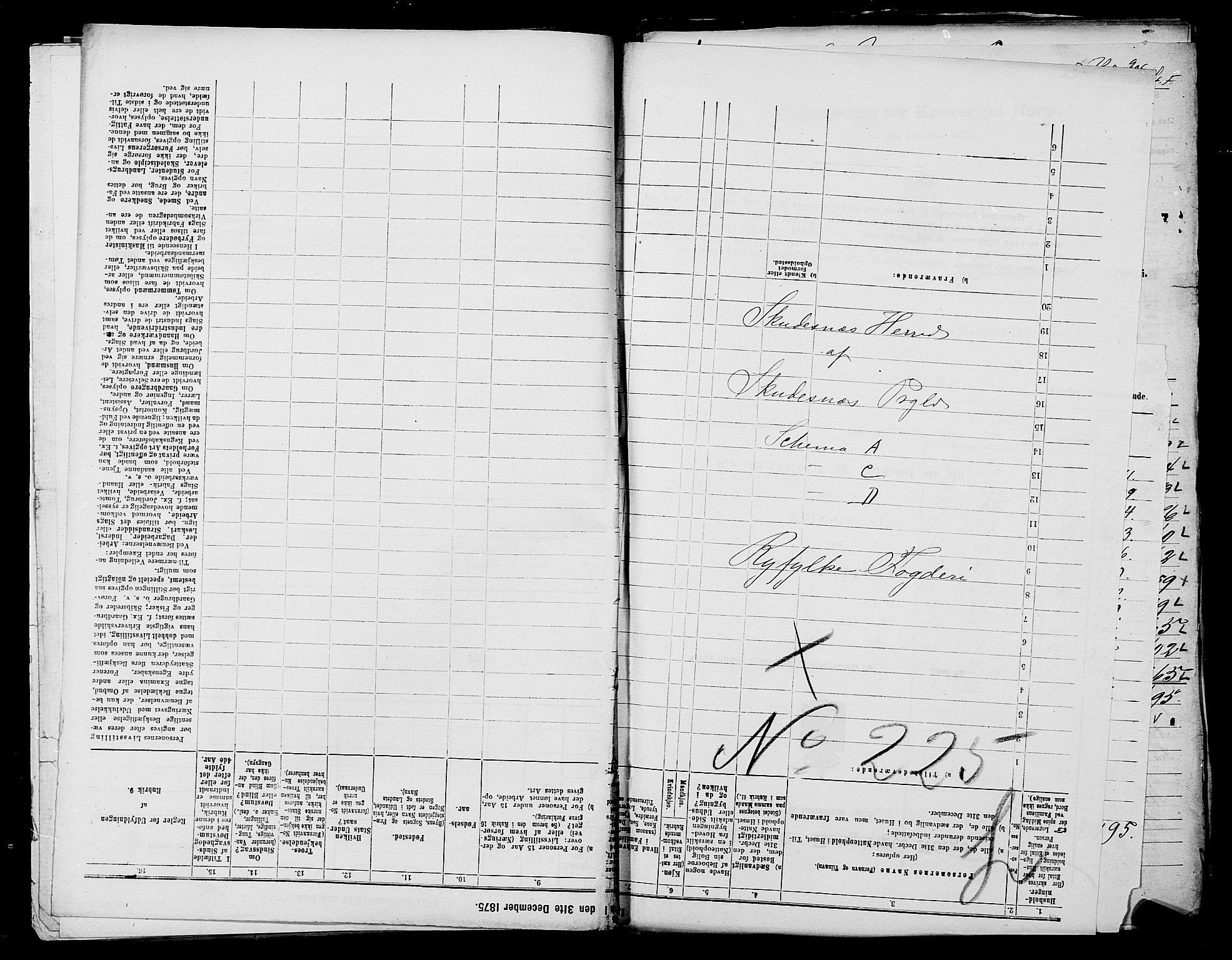 SAST, Folketelling 1875 for 1150L Skudenes prestegjeld, Falnes sokn, Åkra sokn og Ferkingstad sokn, 1875, s. 1