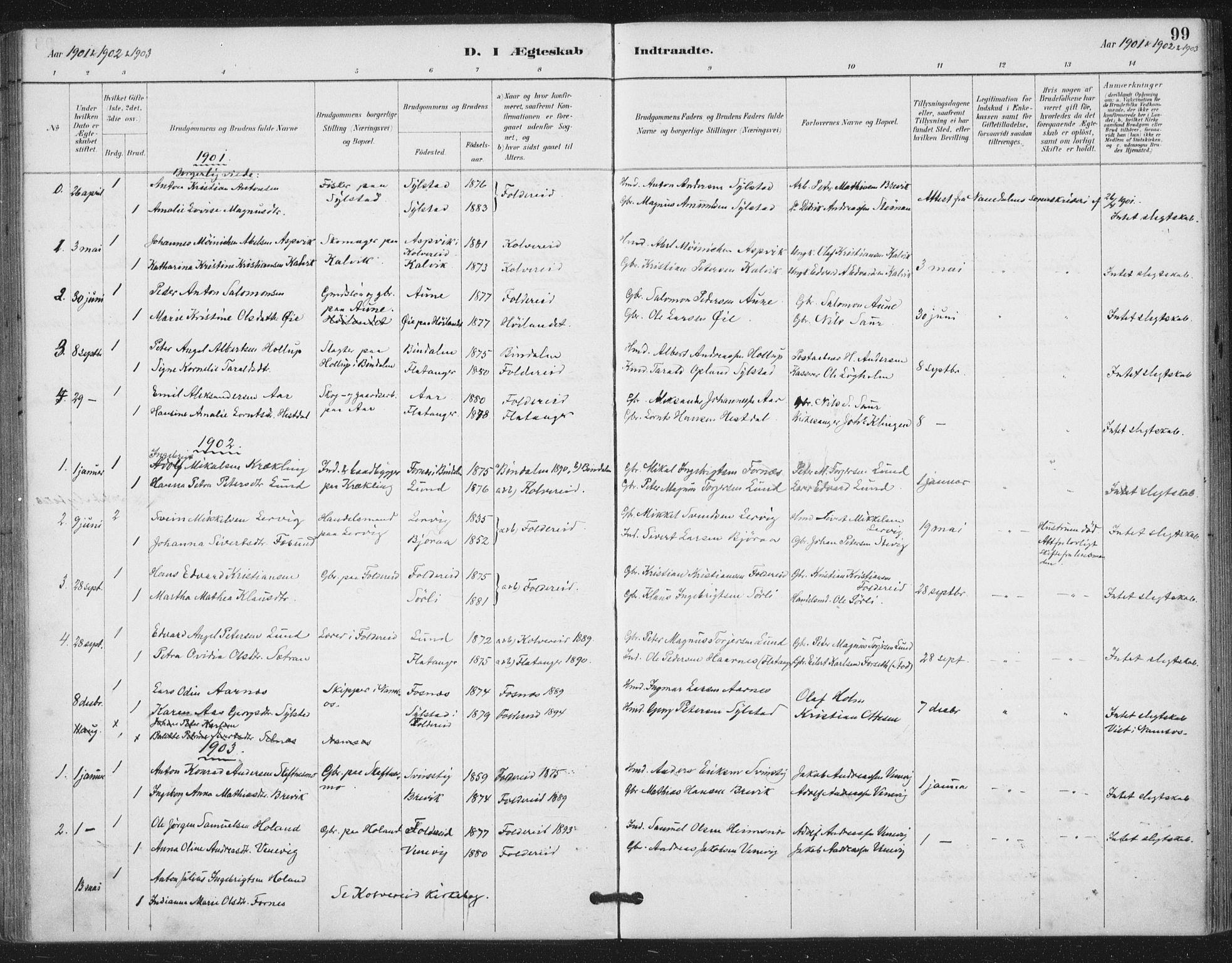 SAT, Ministerialprotokoller, klokkerbøker og fødselsregistre - Nord-Trøndelag, 783/L0660: Ministerialbok nr. 783A02, 1886-1918, s. 99