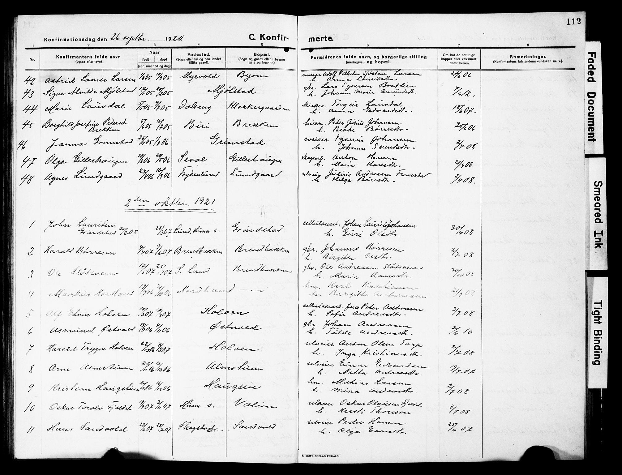 SAH, Vardal prestekontor, H/Ha/Hab/L0015: Klokkerbok nr. 15, 1914-1931, s. 112