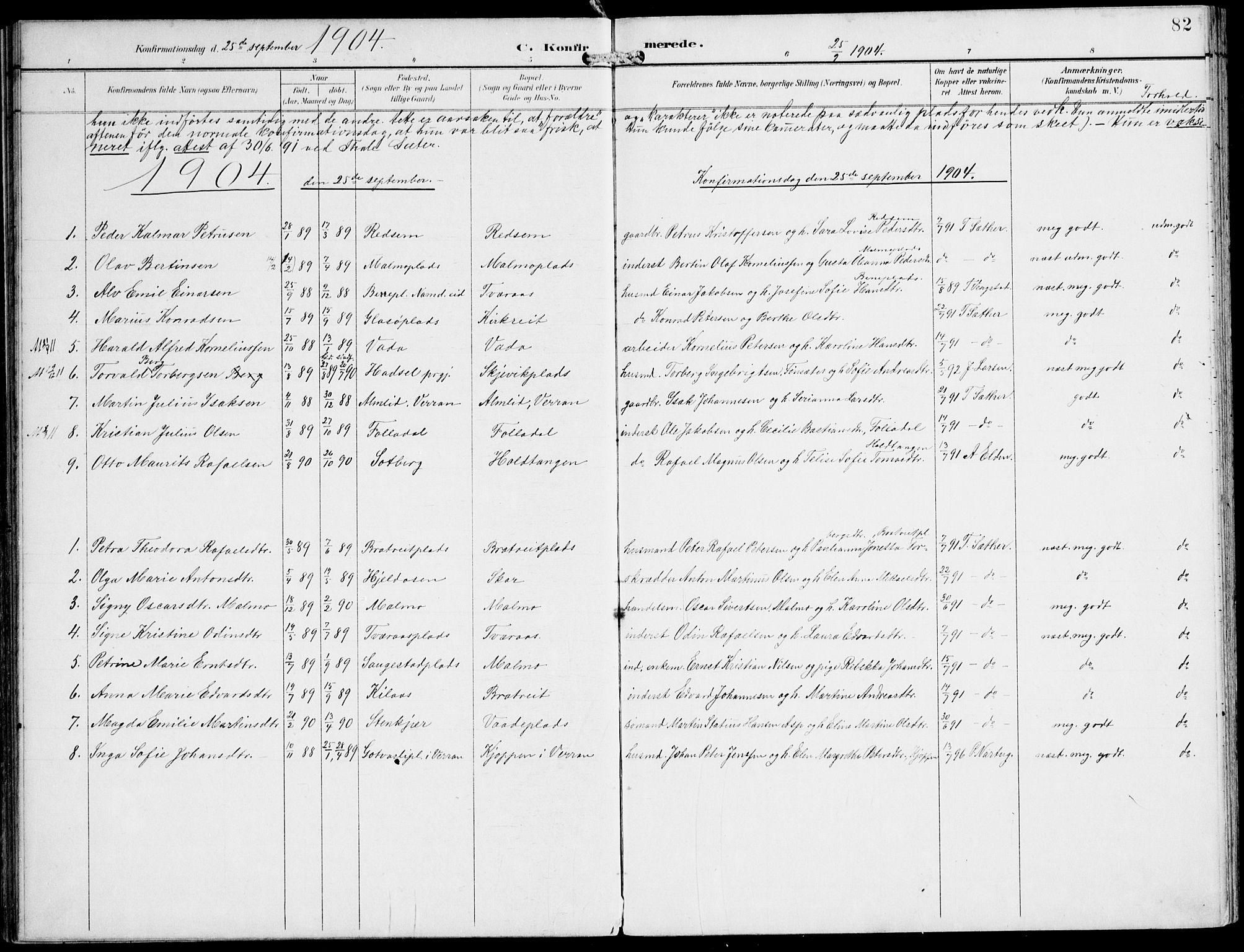 SAT, Ministerialprotokoller, klokkerbøker og fødselsregistre - Nord-Trøndelag, 745/L0430: Ministerialbok nr. 745A02, 1895-1913, s. 82