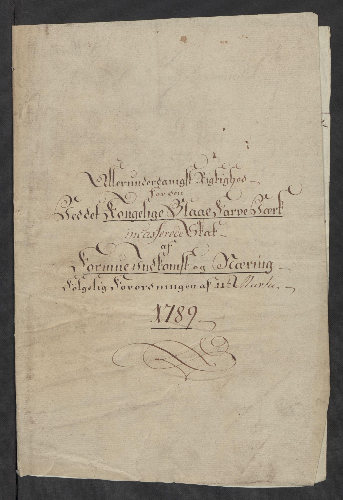 RA, Rentekammeret inntil 1814, Reviderte regnskaper, Mindre regnskaper, Rf/Rfe/L0024: Modum Blåfarvevverk, Molde, Moss, 1789, s. 3