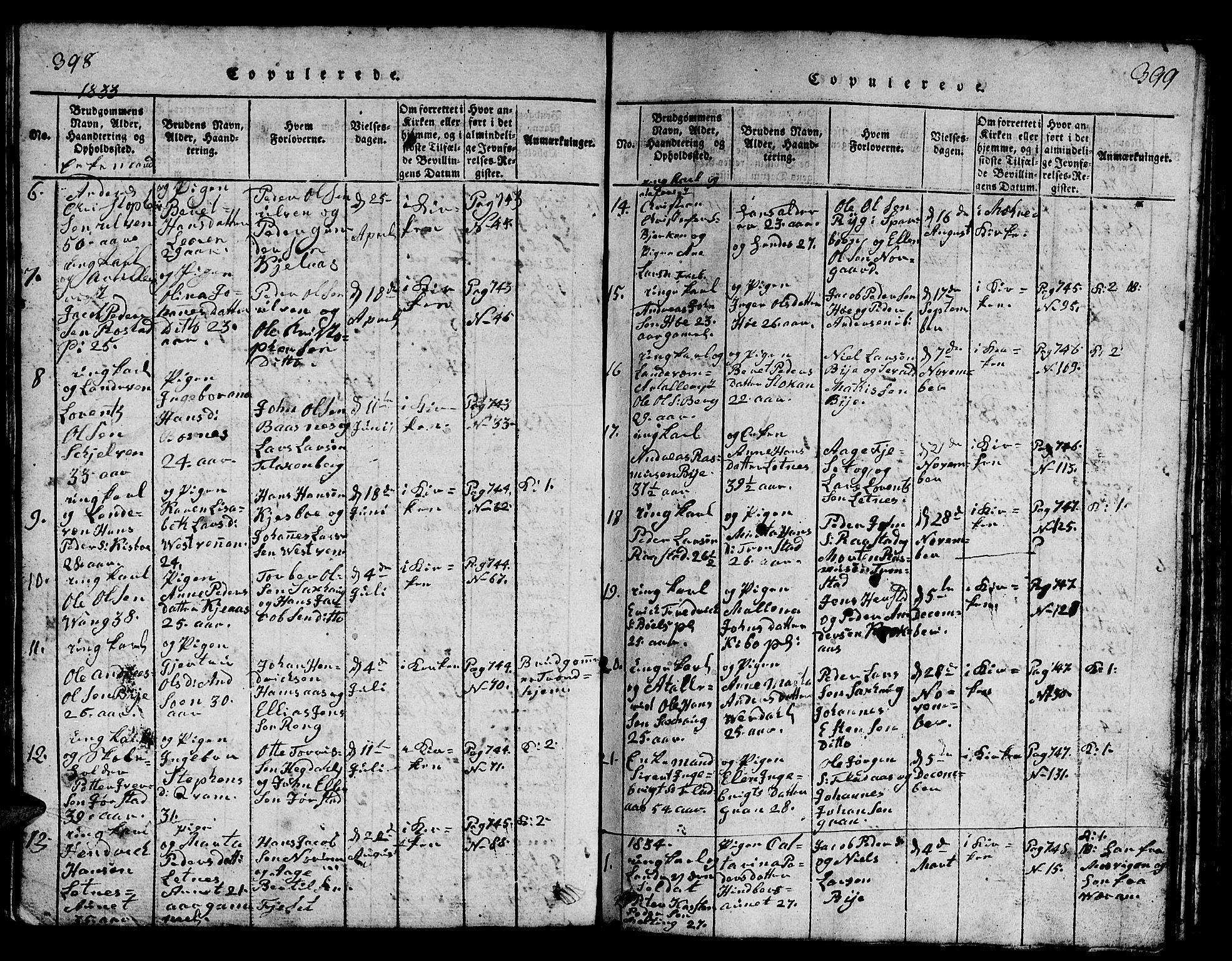 SAT, Ministerialprotokoller, klokkerbøker og fødselsregistre - Nord-Trøndelag, 730/L0298: Klokkerbok nr. 730C01, 1816-1849, s. 398-399