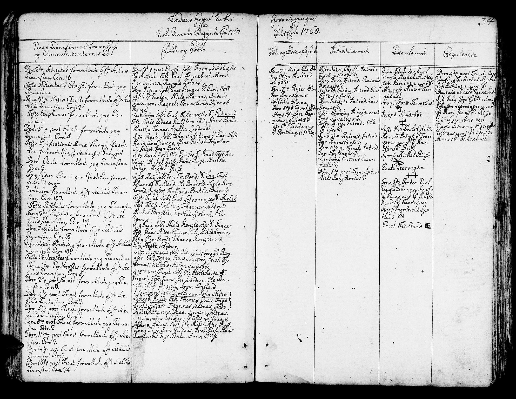 SAB, Lindås Sokneprestembete, H/Haa: Ministerialbok nr. A 4, 1764-1791, s. 34