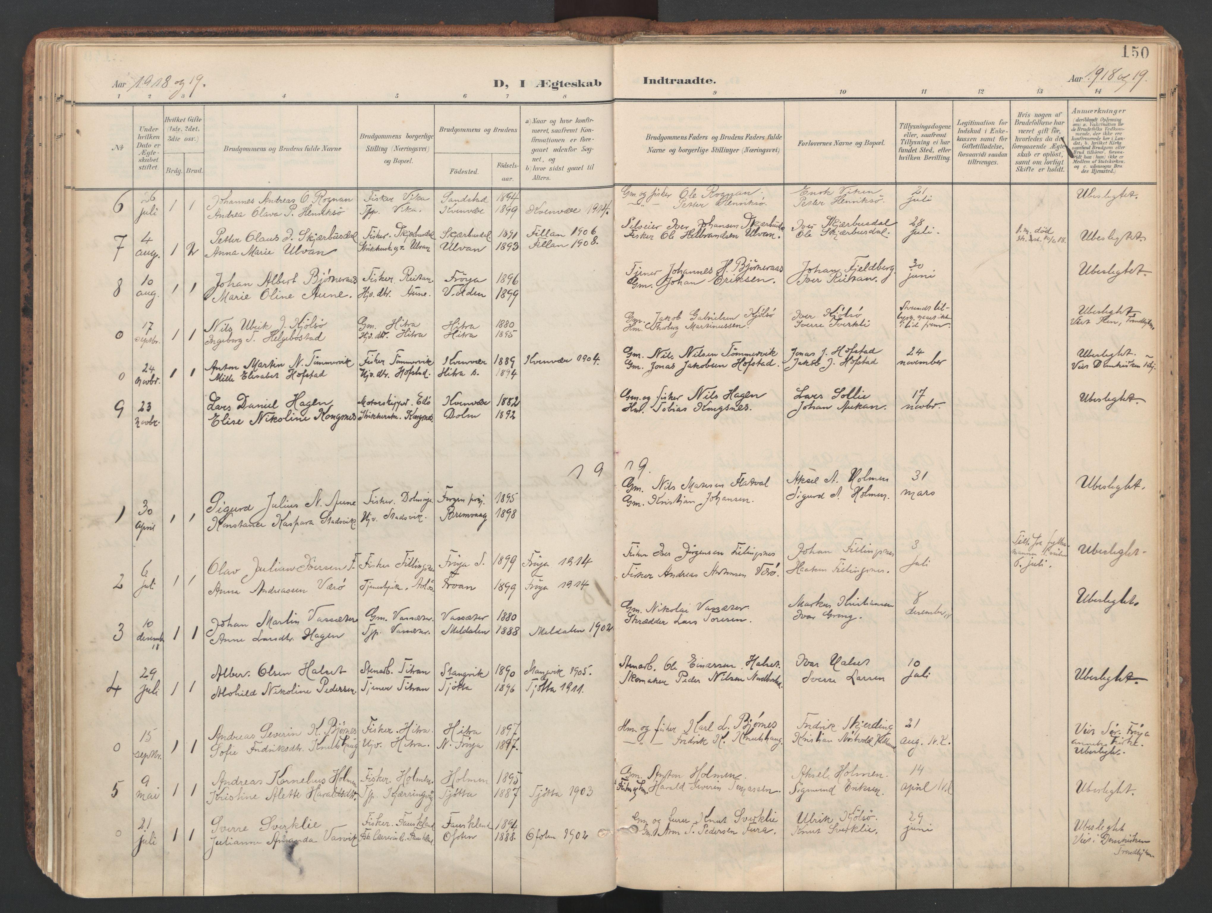 SAT, Ministerialprotokoller, klokkerbøker og fødselsregistre - Sør-Trøndelag, 634/L0537: Ministerialbok nr. 634A13, 1896-1922, s. 150
