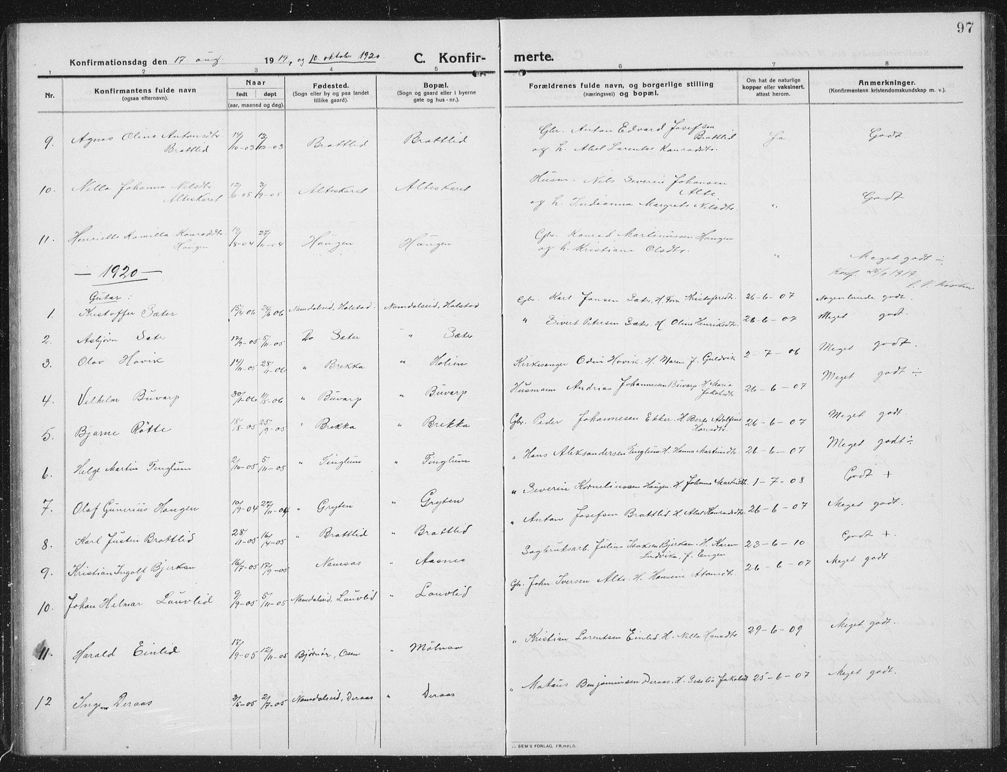 SAT, Ministerialprotokoller, klokkerbøker og fødselsregistre - Nord-Trøndelag, 742/L0413: Klokkerbok nr. 742C04, 1911-1938, s. 97