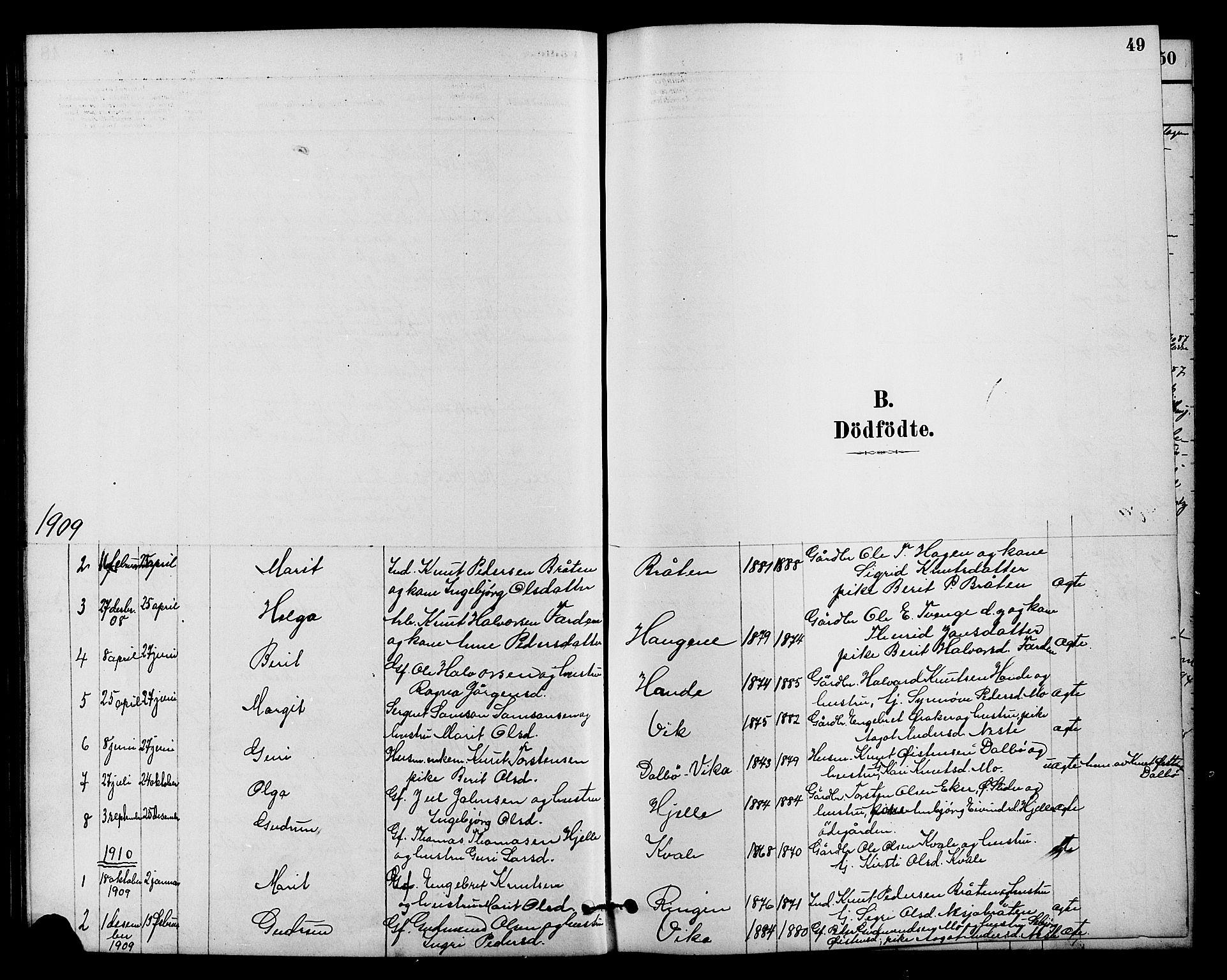 SAH, Vestre Slidre prestekontor, Klokkerbok nr. 4, 1881-1912, s. 49