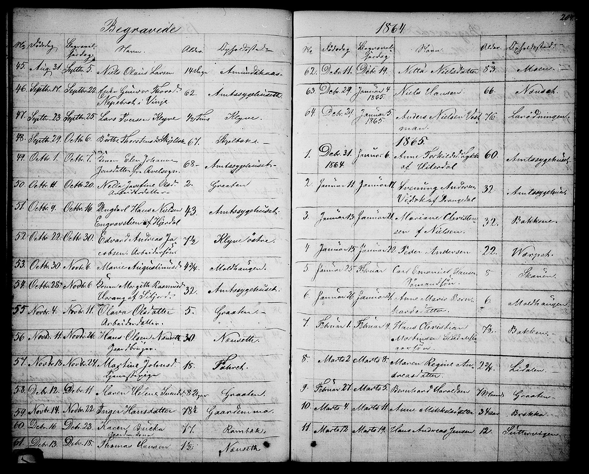 SAKO, Solum kirkebøker, G/Ga/L0004: Klokkerbok nr. I 4, 1859-1876, s. 204