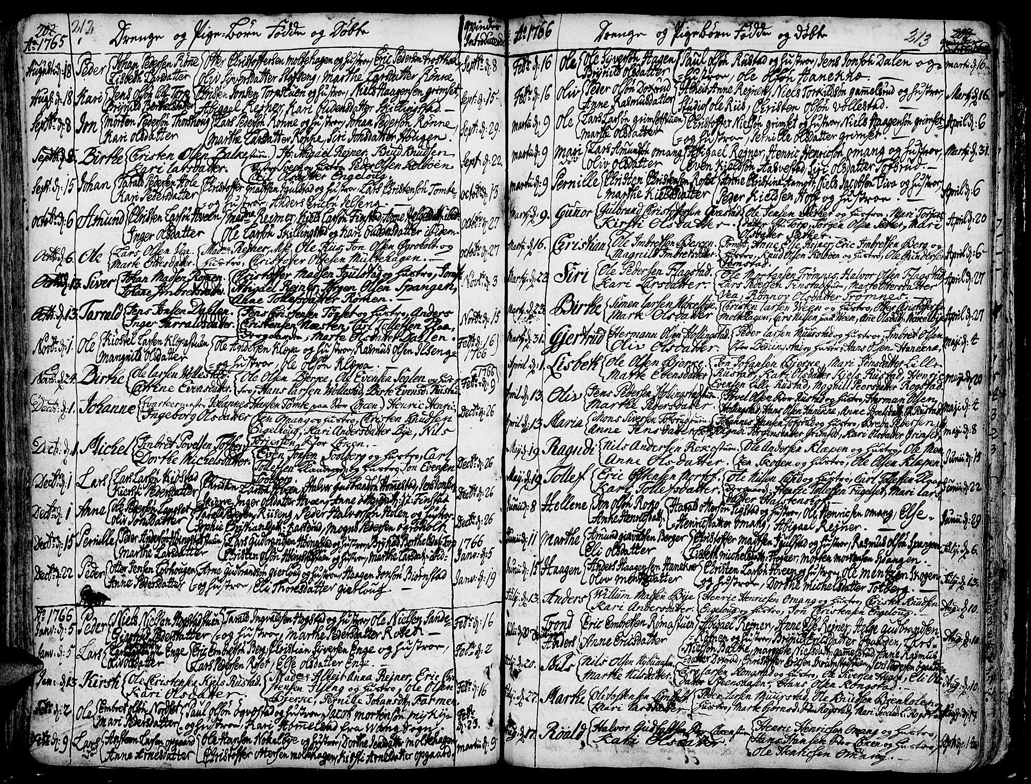 SAH, Løten prestekontor, K/Ka/L0002: Ministerialbok nr. 2, 1731-1772, s. 212-213