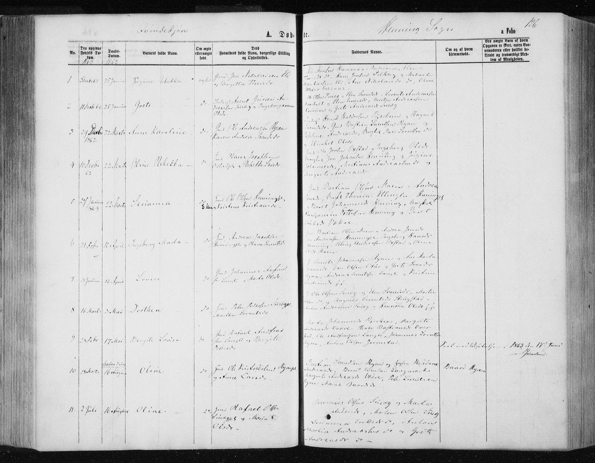 SAT, Ministerialprotokoller, klokkerbøker og fødselsregistre - Nord-Trøndelag, 735/L0345: Ministerialbok nr. 735A08 /3, 1863-1872, s. 126