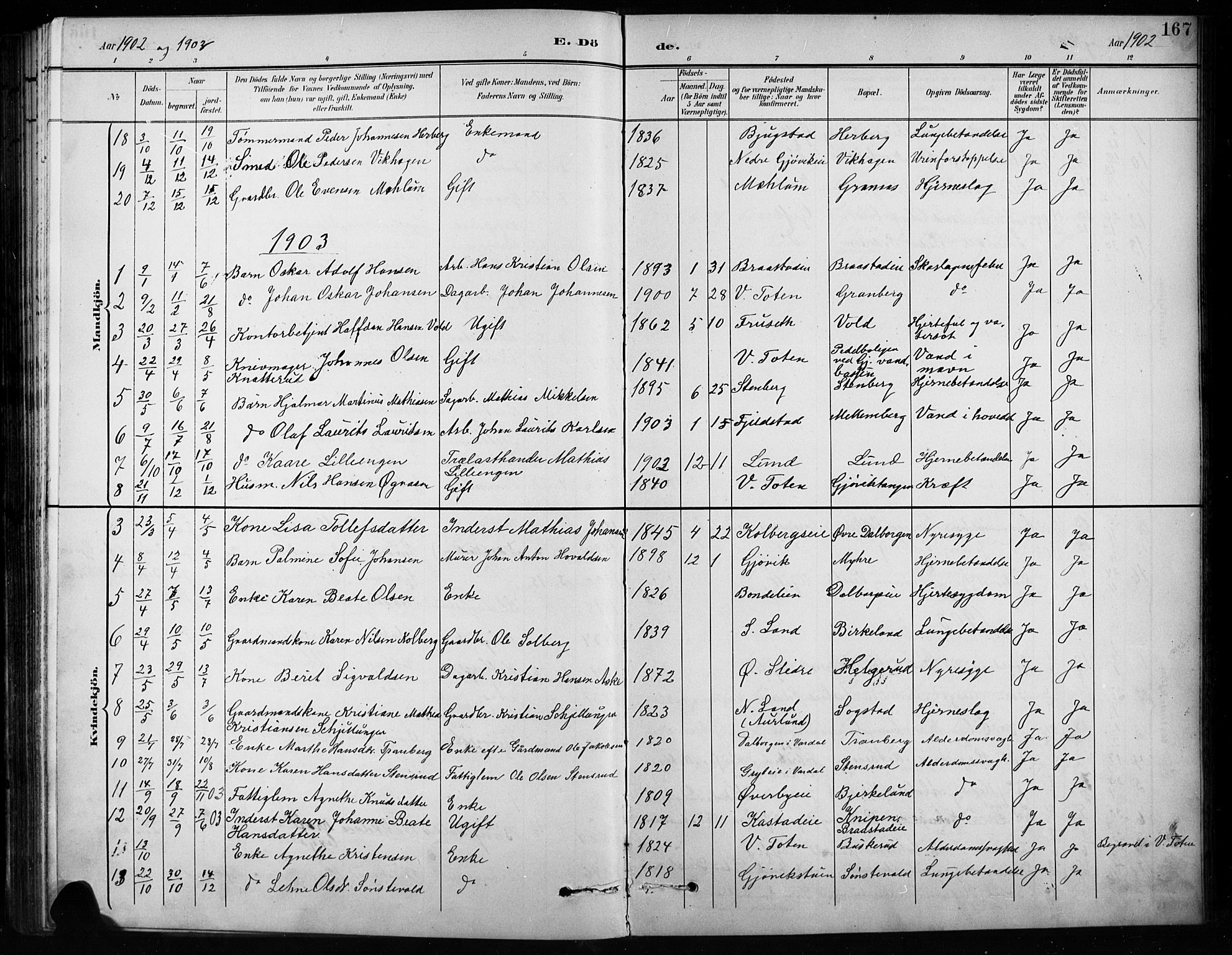 SAH, Vardal prestekontor, H/Ha/Hab/L0010: Klokkerbok nr. 10, 1895-1903, s. 167