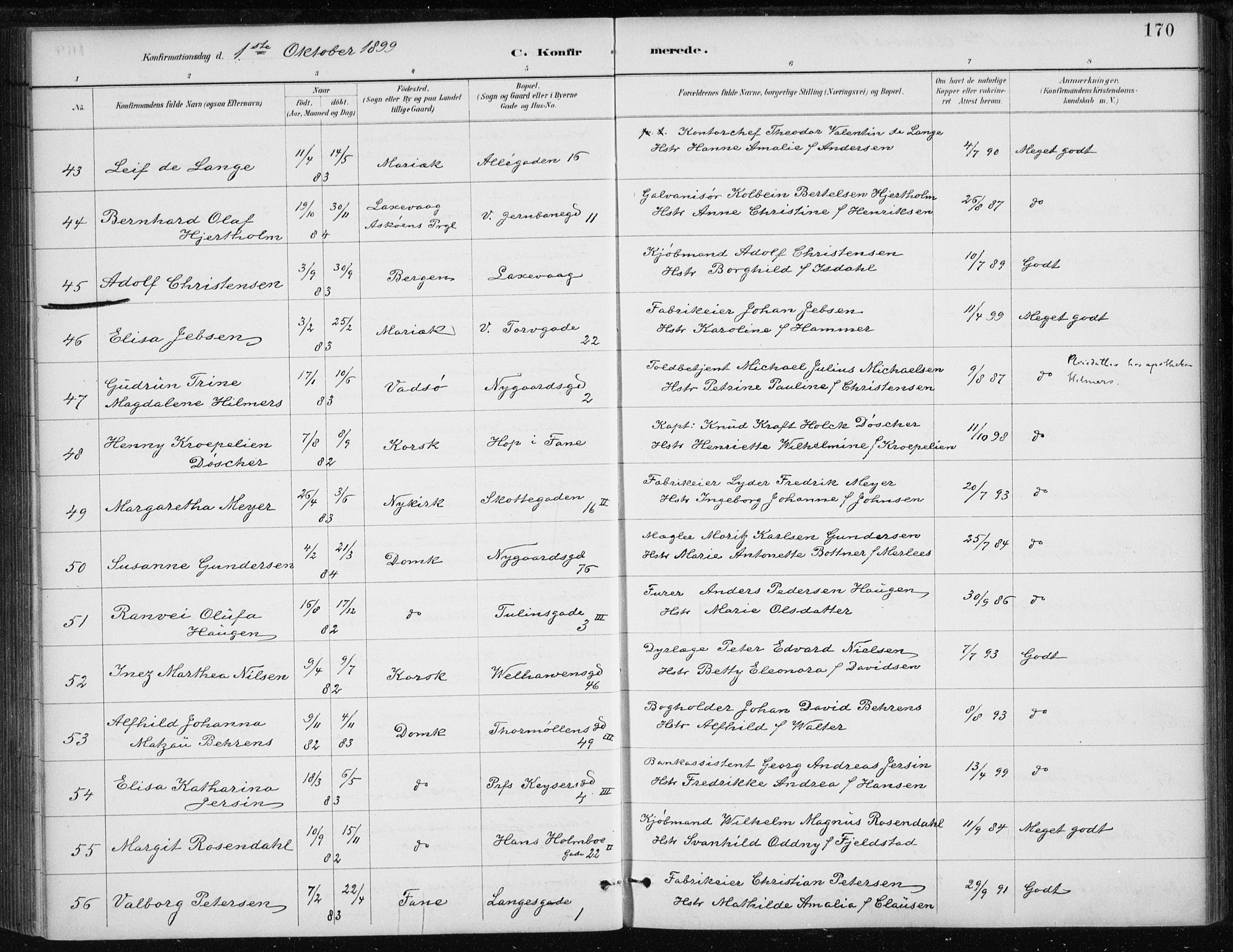 SAB, Johanneskirken Sokneprestembete, H/Haa/L0008: Ministerialbok nr. C 1, 1885-1907, s. 170