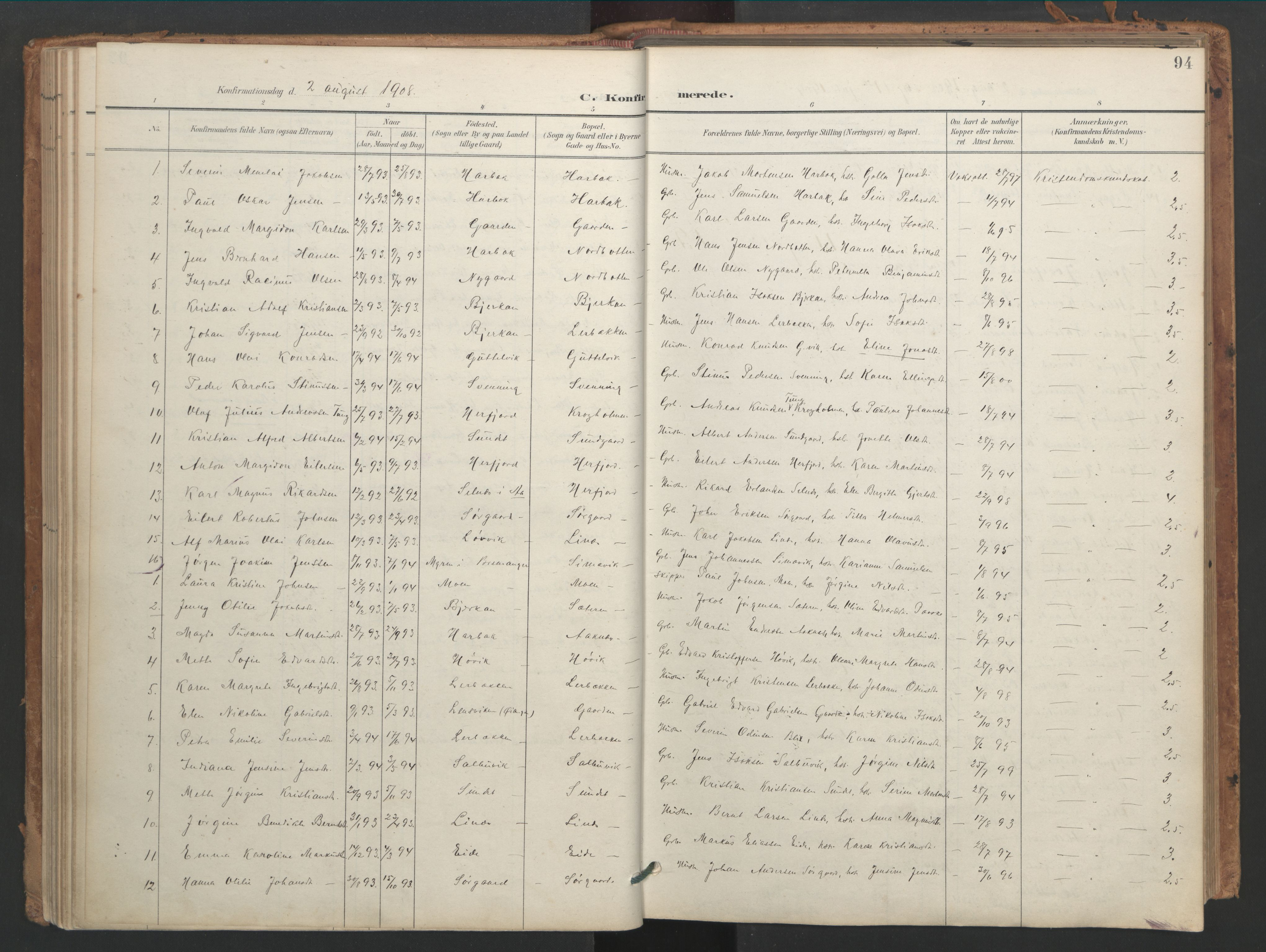 SAT, Ministerialprotokoller, klokkerbøker og fødselsregistre - Sør-Trøndelag, 656/L0693: Ministerialbok nr. 656A02, 1894-1913, s. 94
