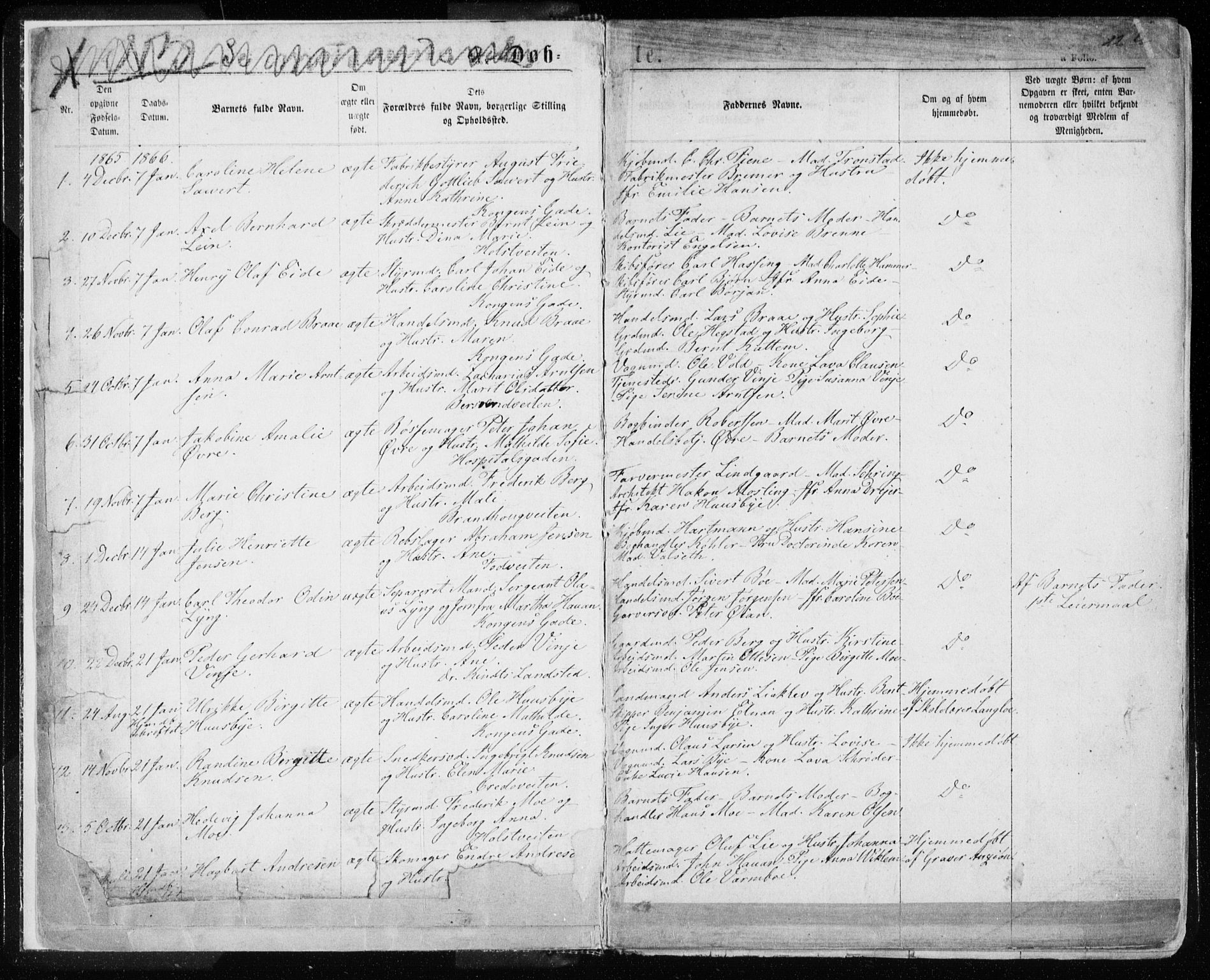 SAT, Ministerialprotokoller, klokkerbøker og fødselsregistre - Sør-Trøndelag, 601/L0054: Ministerialbok nr. 601A22, 1866-1877, s. 1