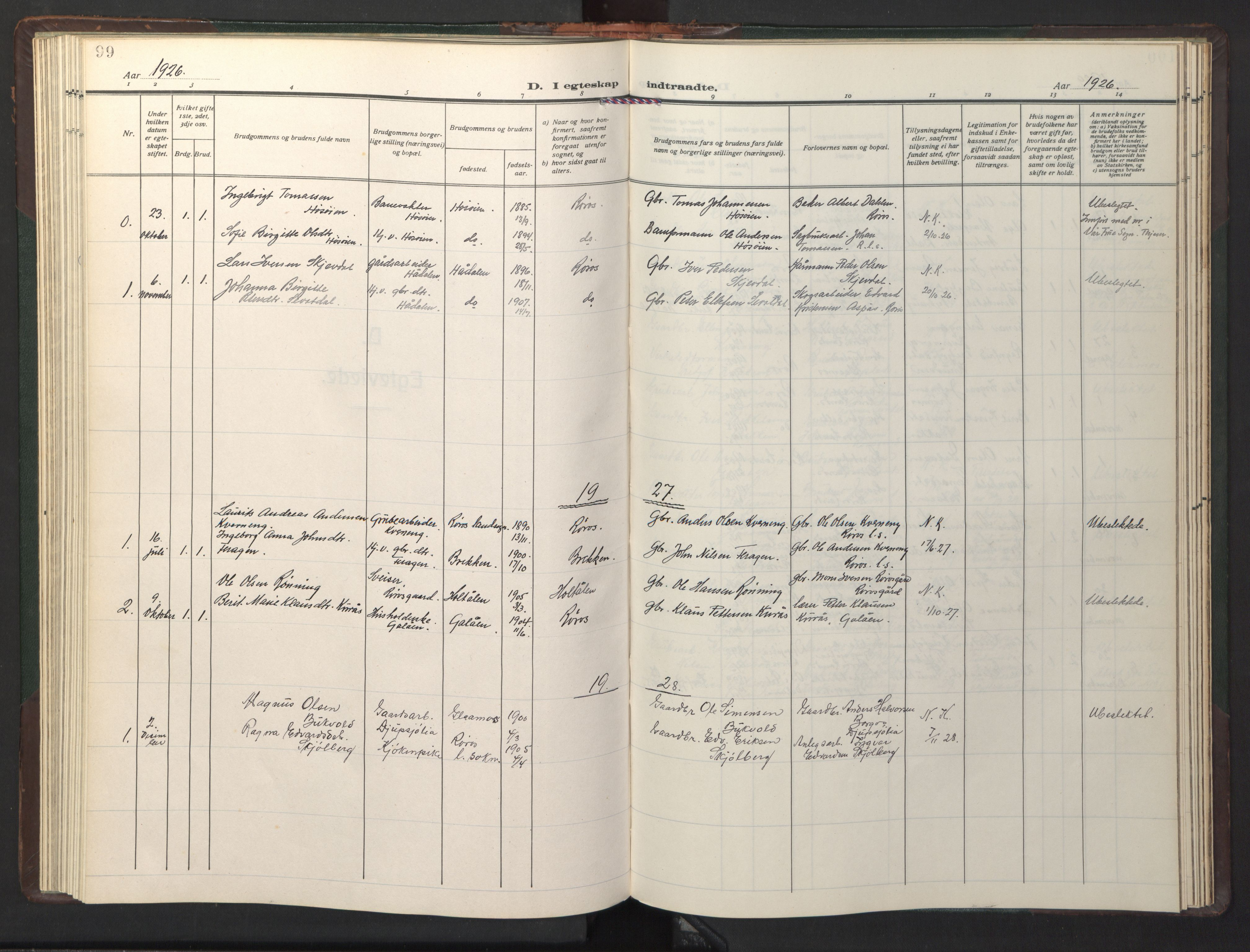 SAT, Ministerialprotokoller, klokkerbøker og fødselsregistre - Sør-Trøndelag, 681/L0944: Klokkerbok nr. 681C08, 1926-1954, s. 99