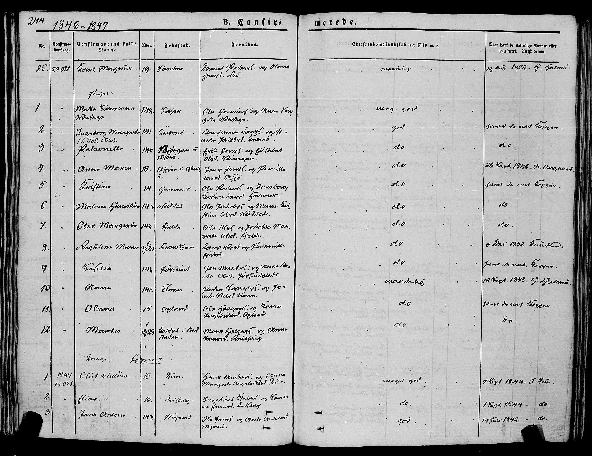 SAT, Ministerialprotokoller, klokkerbøker og fødselsregistre - Nord-Trøndelag, 773/L0614: Ministerialbok nr. 773A05, 1831-1856, s. 244