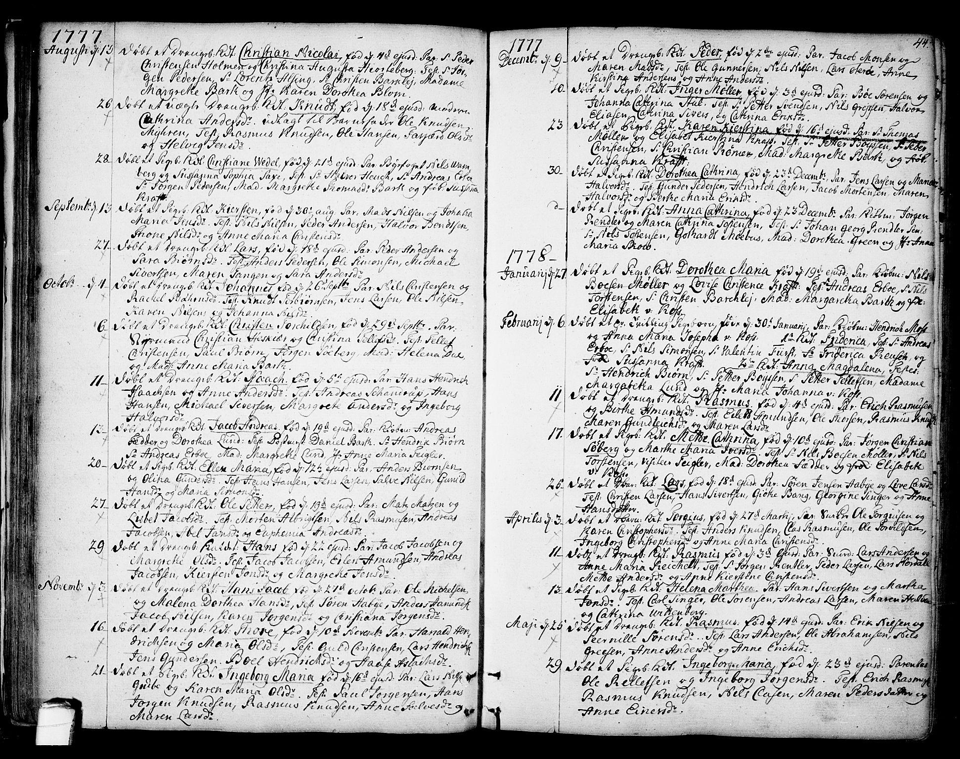 SAKO, Kragerø kirkebøker, F/Fa/L0002: Ministerialbok nr. 2, 1767-1802, s. 44