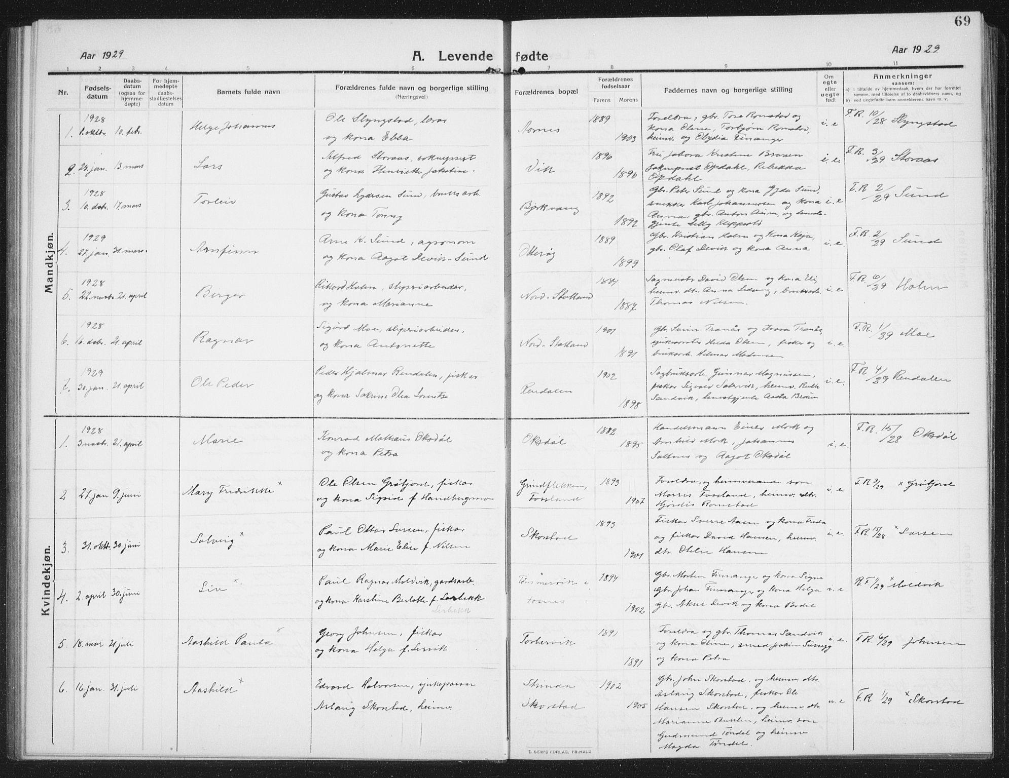 SAT, Ministerialprotokoller, klokkerbøker og fødselsregistre - Nord-Trøndelag, 774/L0630: Klokkerbok nr. 774C01, 1910-1934, s. 69