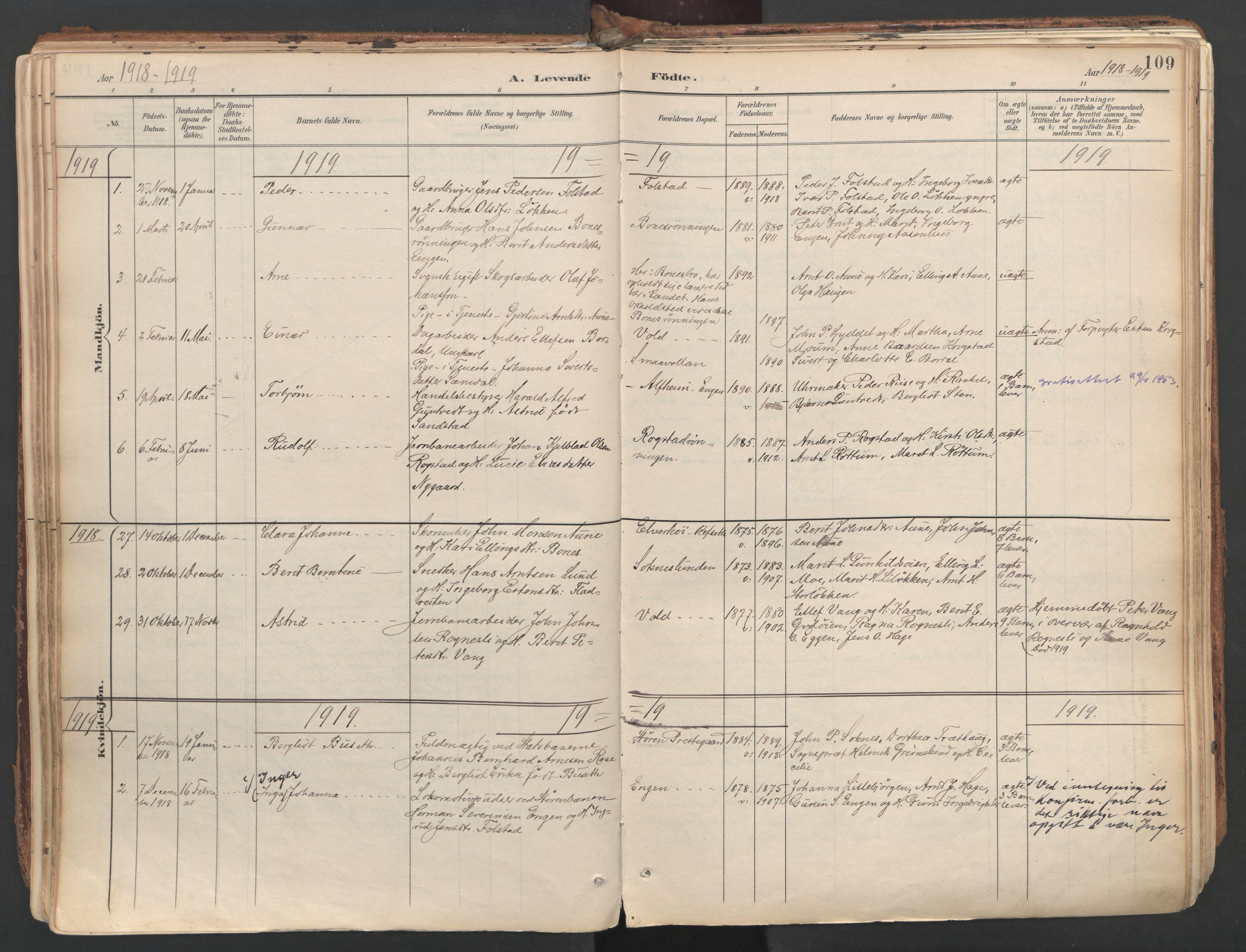 SAT, Ministerialprotokoller, klokkerbøker og fødselsregistre - Sør-Trøndelag, 687/L1004: Ministerialbok nr. 687A10, 1891-1923, s. 109