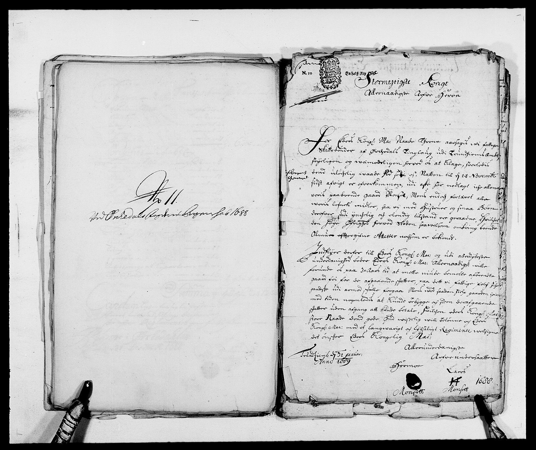 RA, Rentekammeret inntil 1814, Reviderte regnskaper, Fogderegnskap, R58/L3935: Fogderegnskap Orkdal, 1687-1688, s. 384
