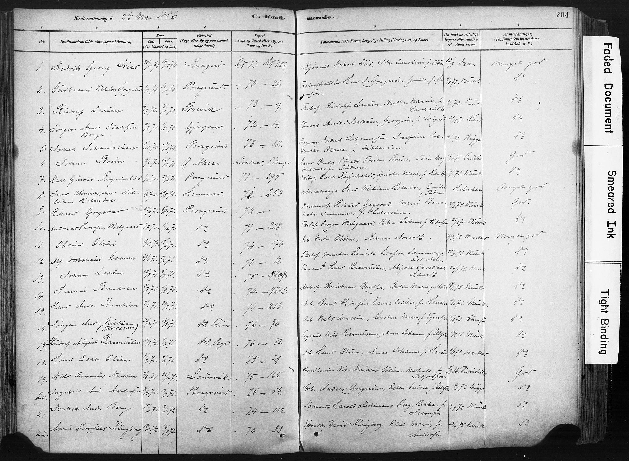 SAKO, Porsgrunn kirkebøker , F/Fa/L0008: Ministerialbok nr. 8, 1878-1895, s. 204