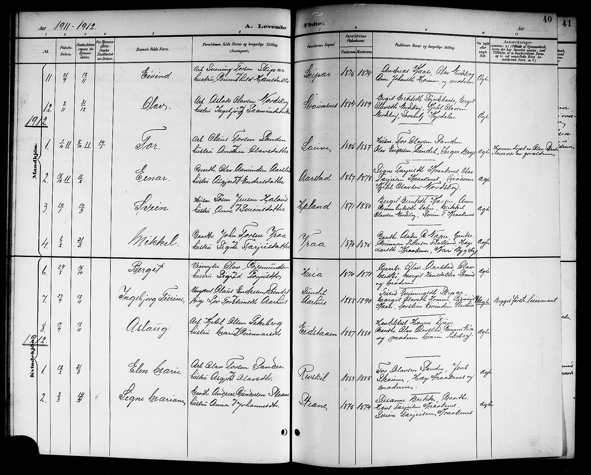 SAKO, Kviteseid kirkebøker, G/Gc/L0001: Klokkerbok nr. III 1, 1893-1916, s. 40