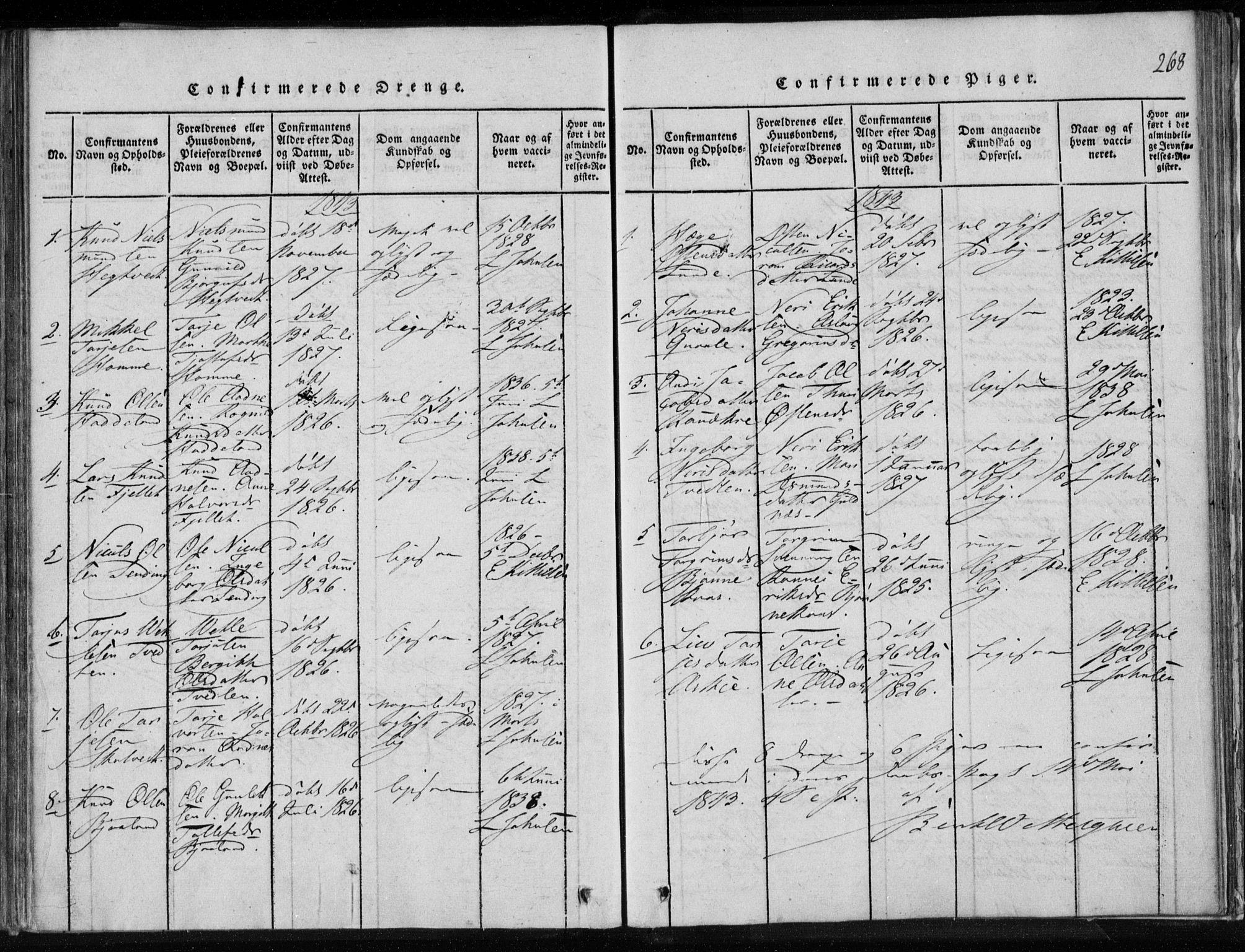 SAKO, Lårdal kirkebøker, F/Fa/L0005: Ministerialbok nr. I 5, 1815-1860, s. 268
