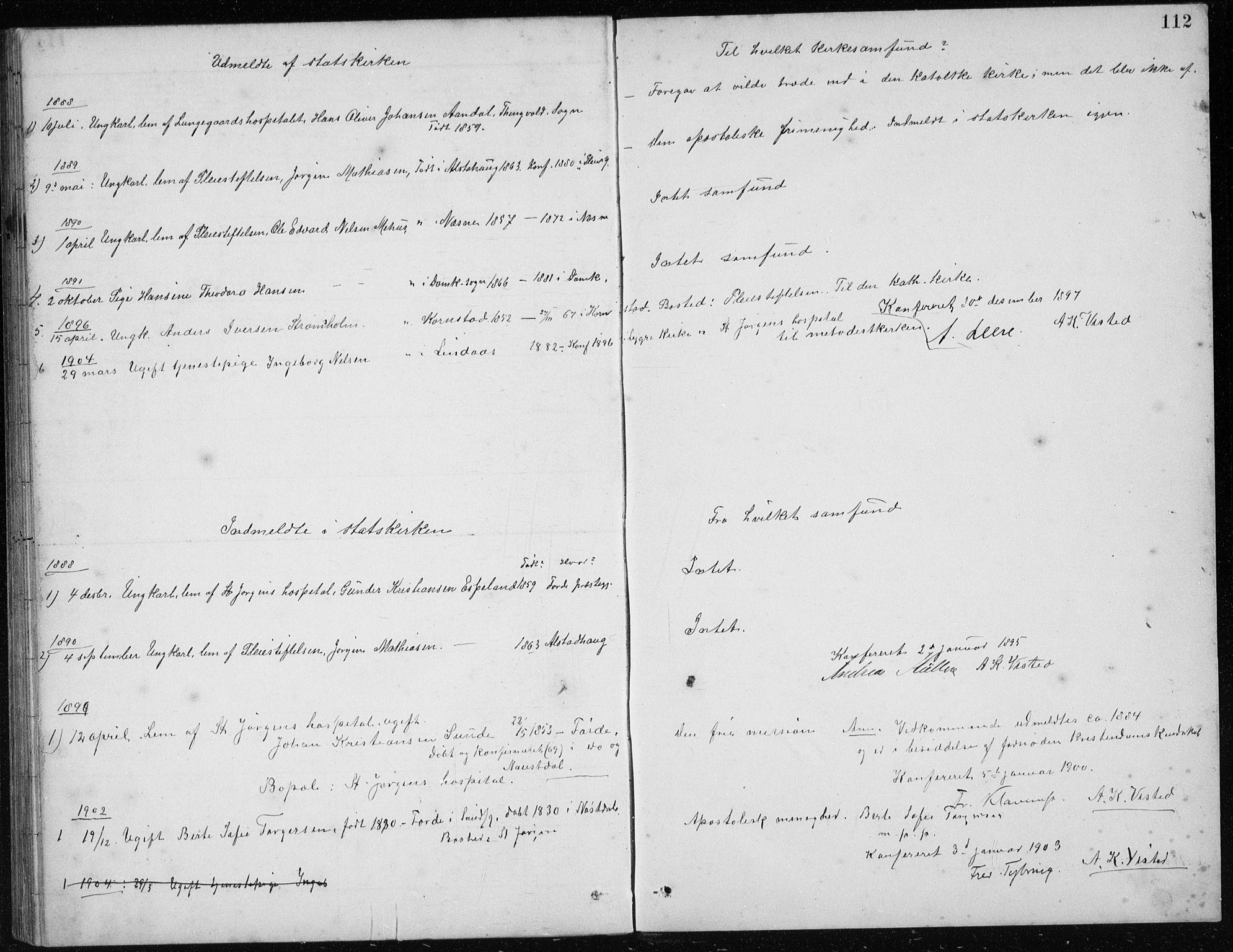 SAB, St. Jørgens hospital og Årstad sokneprestembete, Klokkerbok nr. A 10, 1886-1910, s. 112