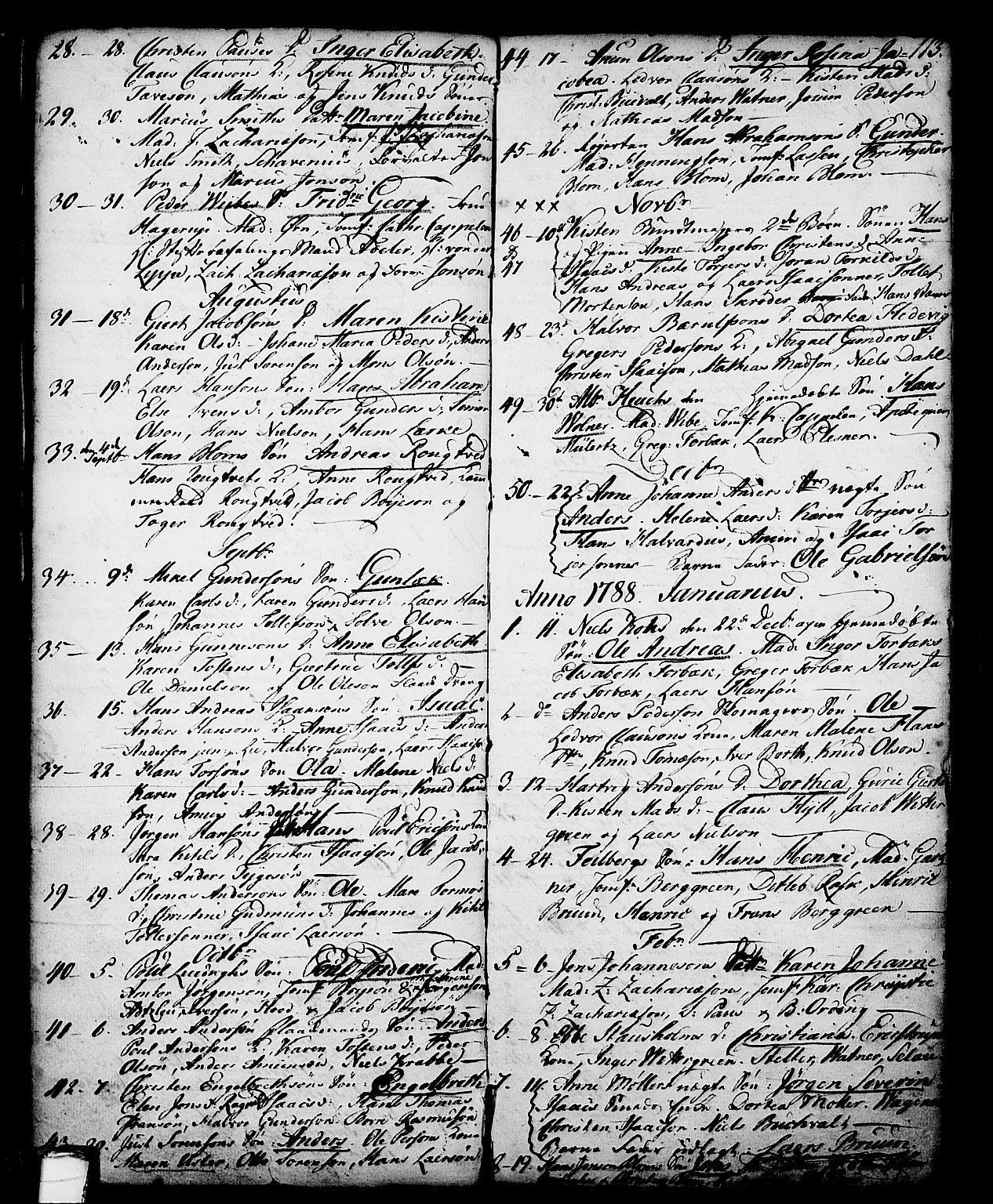 SAKO, Skien kirkebøker, G/Ga/L0001: Klokkerbok nr. 1, 1756-1791, s. 113