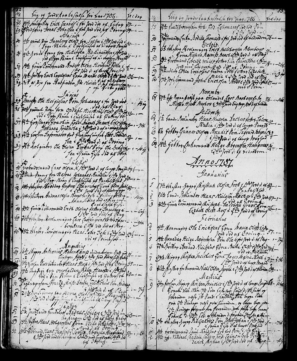 SAT, Ministerialprotokoller, klokkerbøker og fødselsregistre - Sør-Trøndelag, 602/L0134: Klokkerbok nr. 602C02, 1759-1812, s. 52-53
