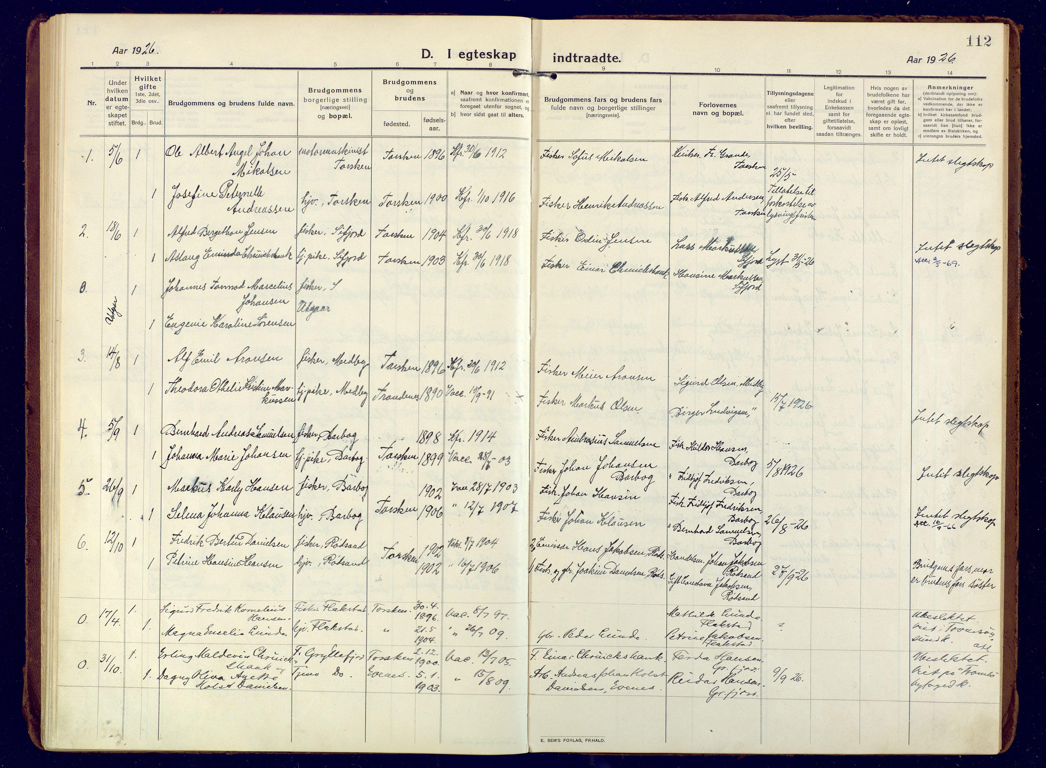 SATØ, Mefjord/Berg sokneprestkontor, G/Ga/Gaa: Ministerialbok nr. 10, 1916-1928, s. 112