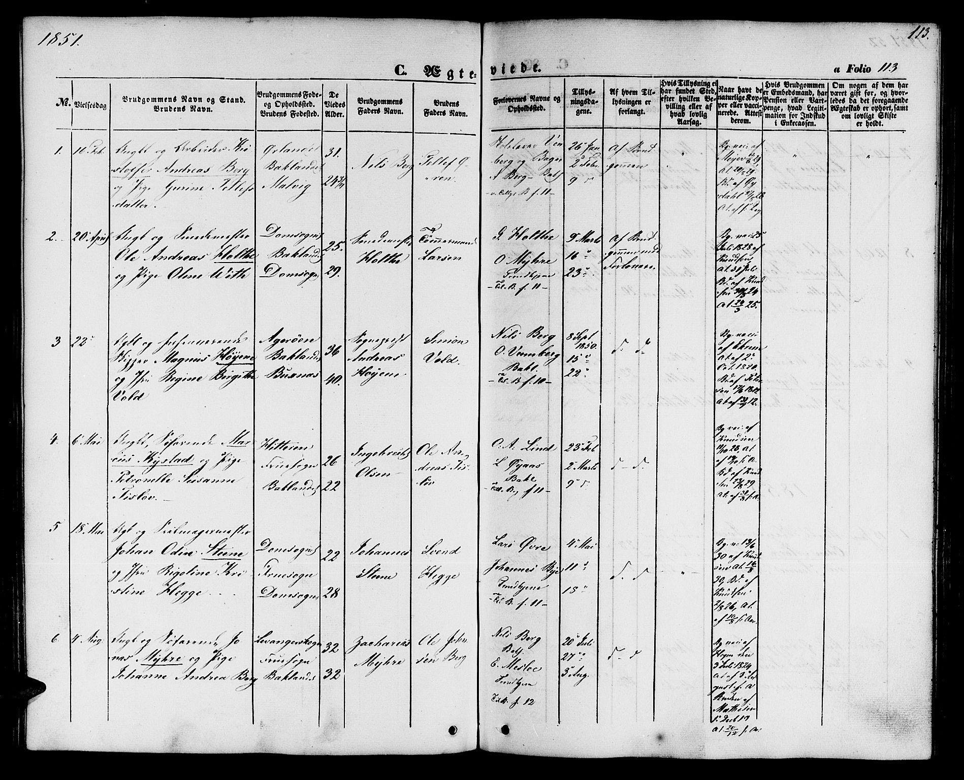 SAT, Ministerialprotokoller, klokkerbøker og fødselsregistre - Sør-Trøndelag, 604/L0184: Ministerialbok nr. 604A05, 1851-1860, s. 113