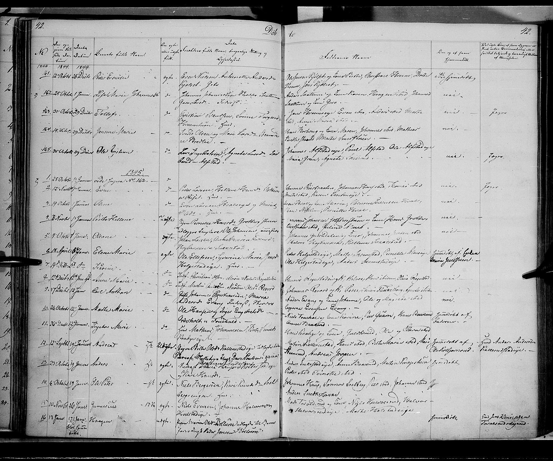 SAH, Østre Toten prestekontor, Ministerialbok nr. 2, 1840-1847, s. 42
