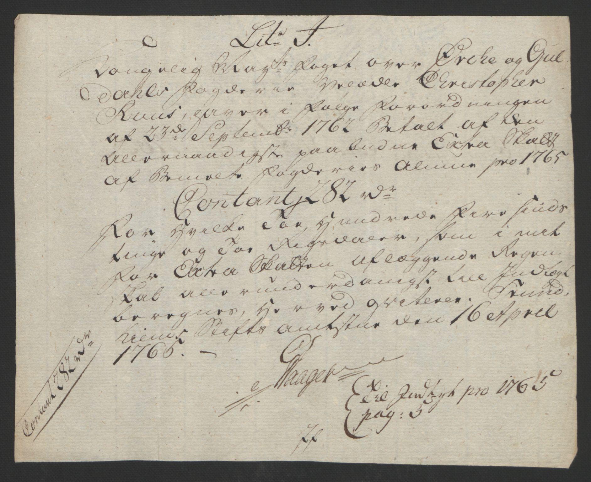 RA, Rentekammeret inntil 1814, Reviderte regnskaper, Fogderegnskap, R60/L4094: Ekstraskatten Orkdal og Gauldal, 1762-1765, s. 285