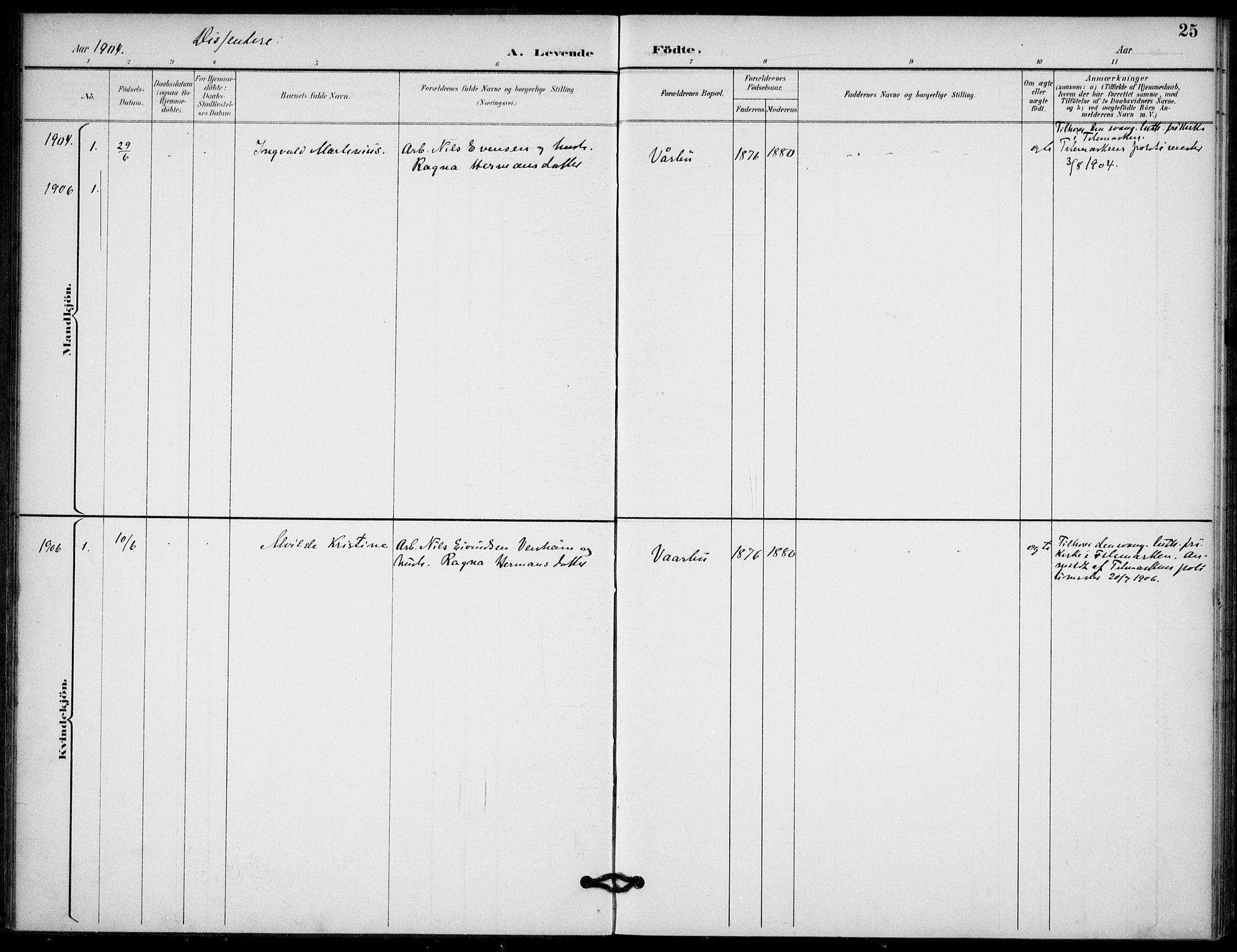 SAKO, Lunde kirkebøker, F/Fb/L0004: Ministerialbok nr. II 4, 1892-1907, s. 25