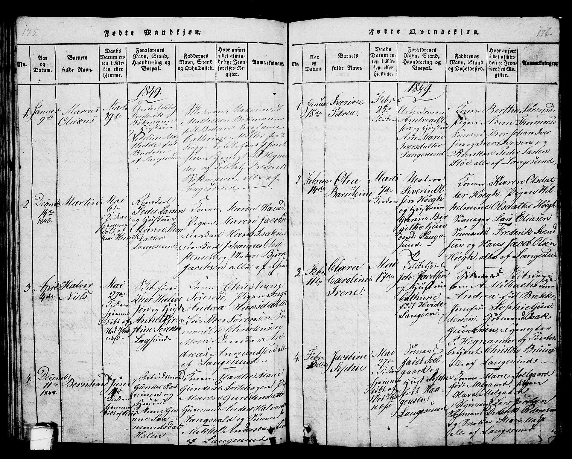 SAKO, Langesund kirkebøker, G/Ga/L0003: Klokkerbok nr. 3, 1815-1858, s. 175-176