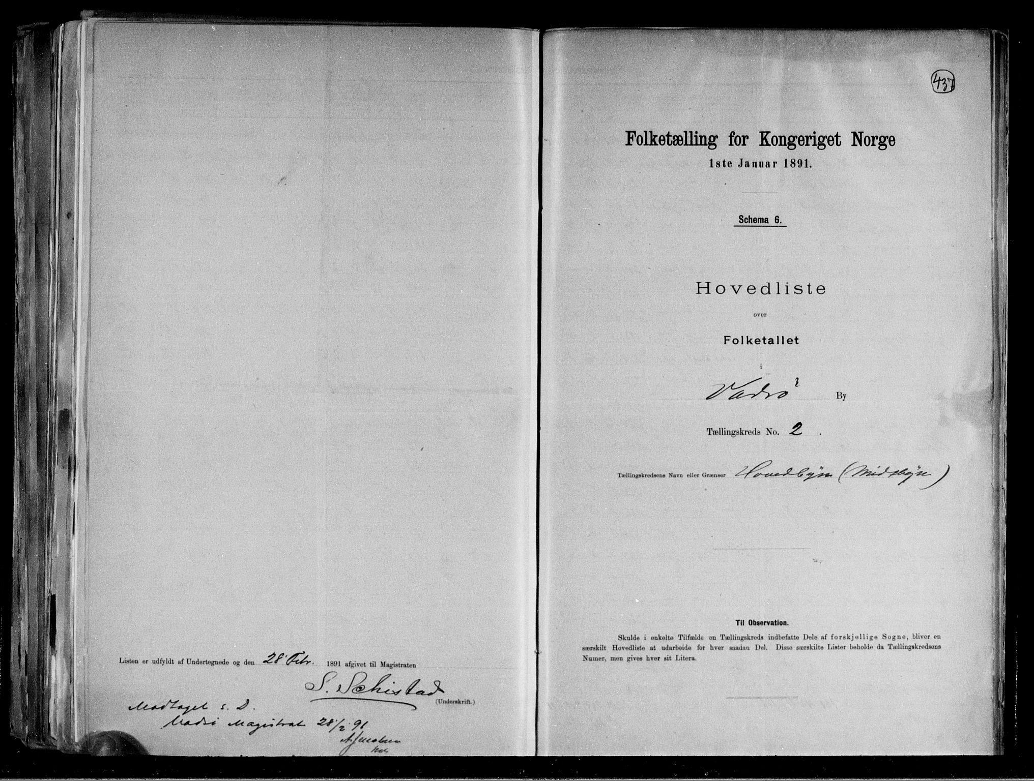 RA, Folketelling 1891 for 2003 Vadsø kjøpstad, 1891, s. 15