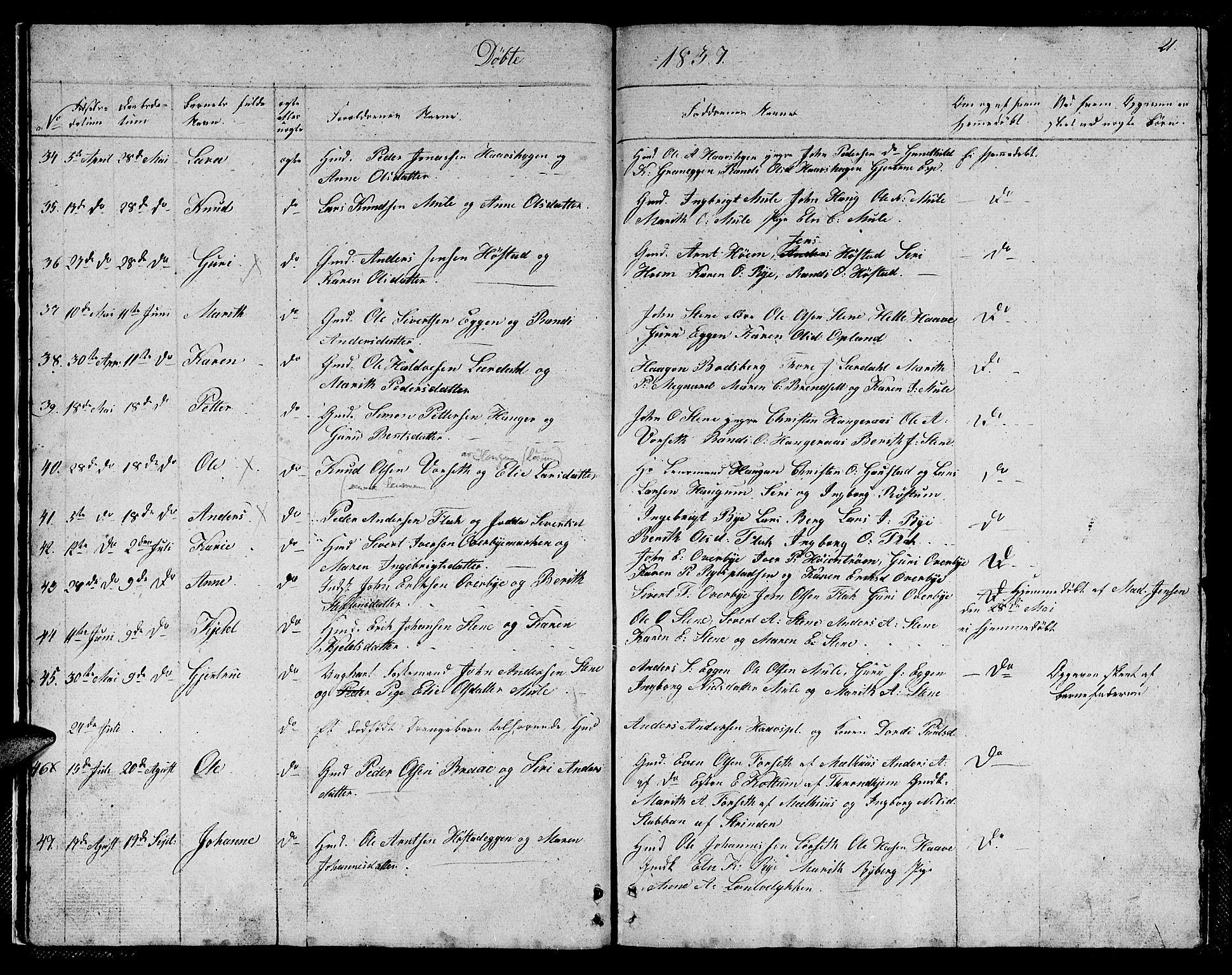 SAT, Ministerialprotokoller, klokkerbøker og fødselsregistre - Sør-Trøndelag, 612/L0386: Klokkerbok nr. 612C02, 1834-1845, s. 21