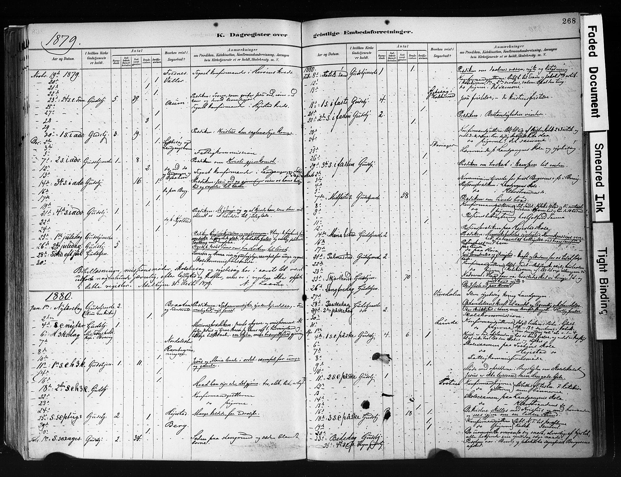 SAKO, Eidanger kirkebøker, F/Fa/L0012: Ministerialbok nr. 12, 1879-1900, s. 268