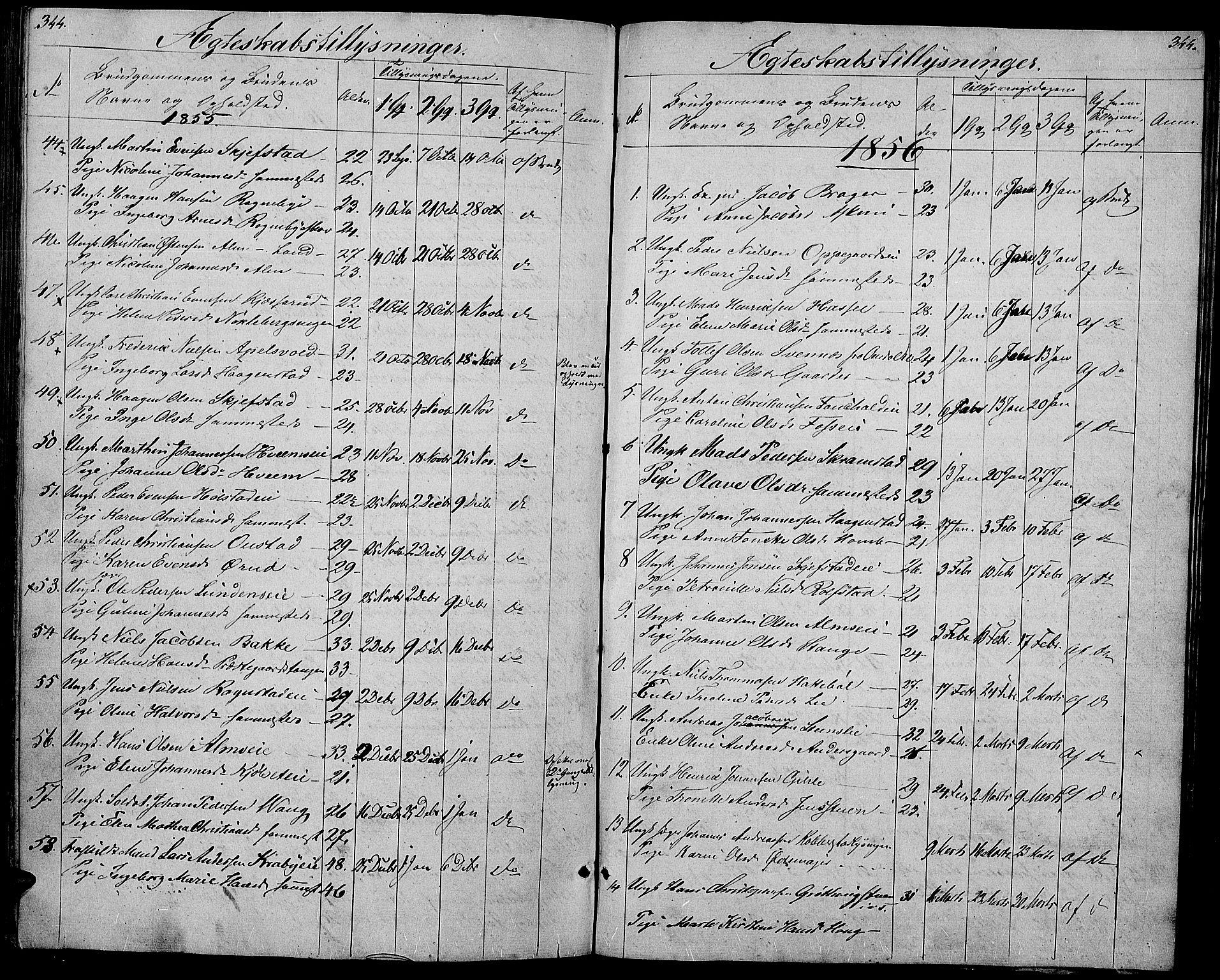 SAH, Østre Toten prestekontor, Klokkerbok nr. 3, 1848-1857, s. 344