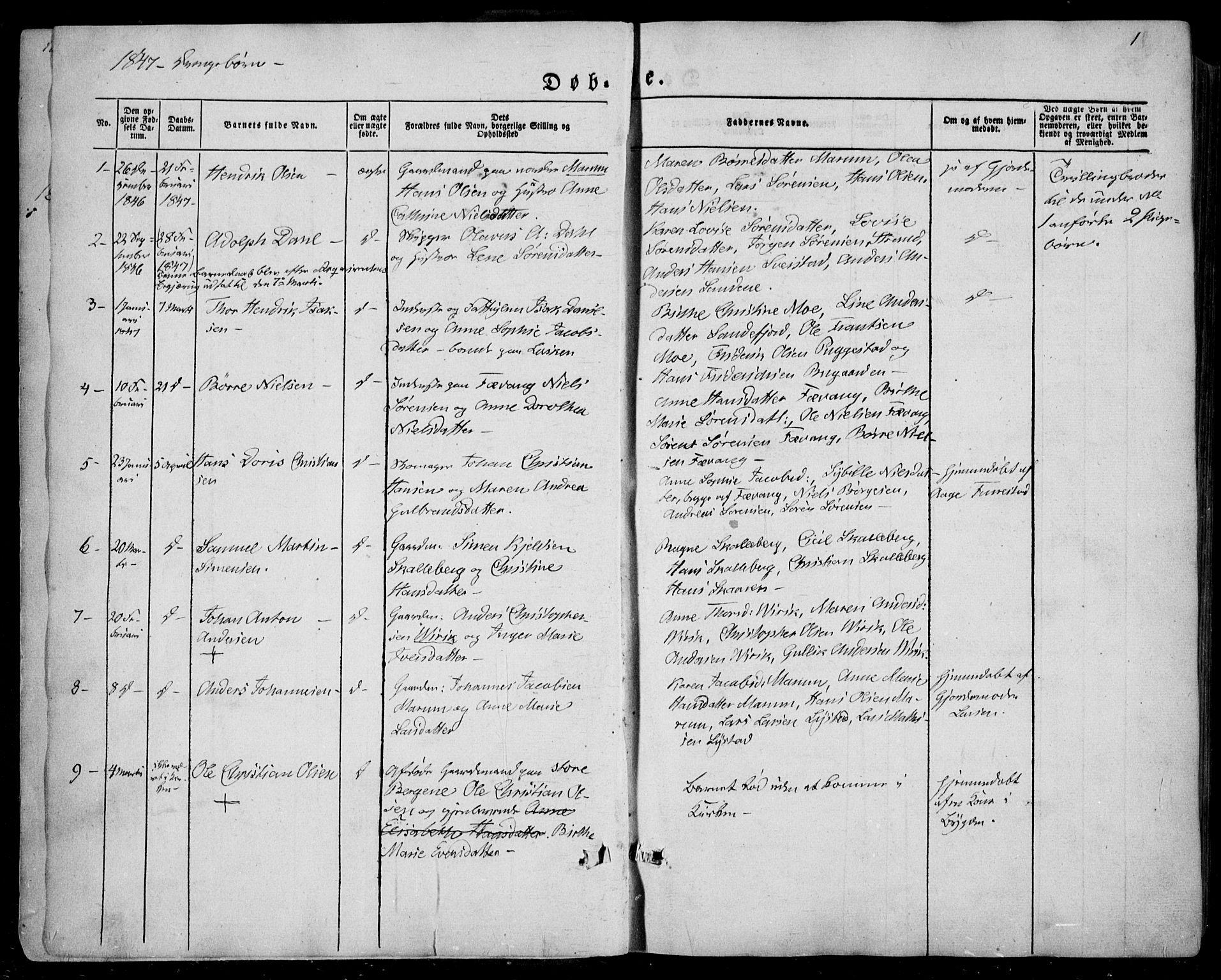 SAKO, Sandar kirkebøker, F/Fa/L0006: Ministerialbok nr. 6, 1847-1860, s. 1