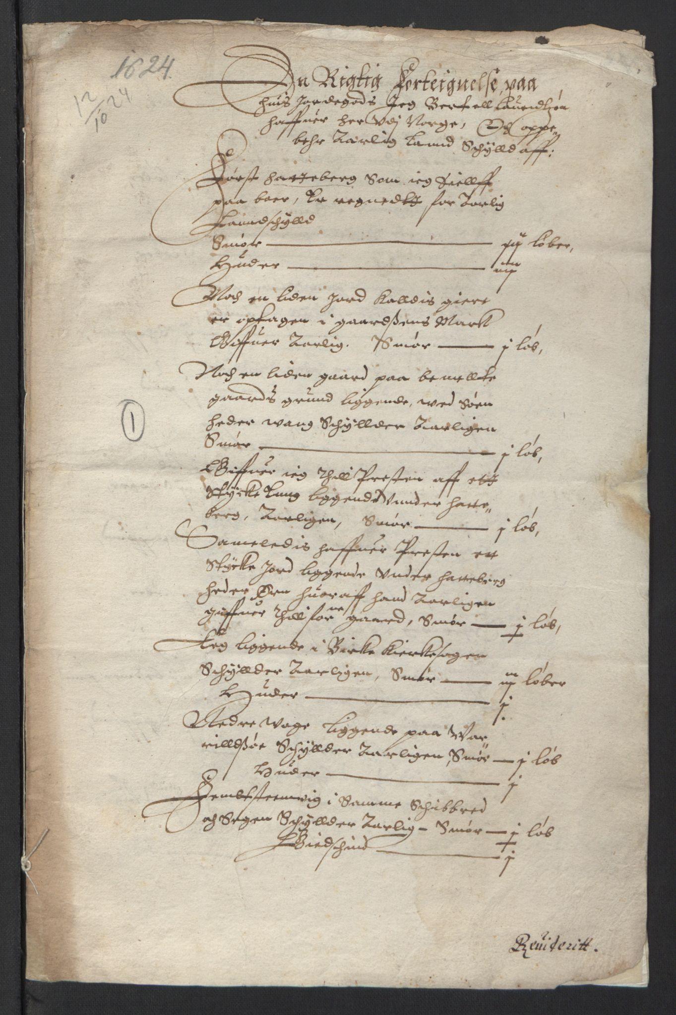 RA, Stattholderembetet 1572-1771, Ek/L0007: Jordebøker til utlikning av rosstjeneste 1624-1626:, 1624-1625, s. 221