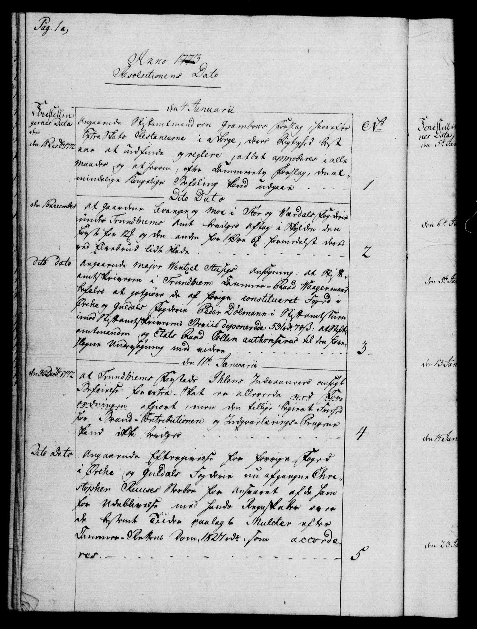 RA, Rentekammeret, Kammerkanselliet, G/Gf/Gfb/L0009: Register til norske relasjons- og resolusjonsprotokoller (merket RK 52.104), 1773-1780, s. 1a