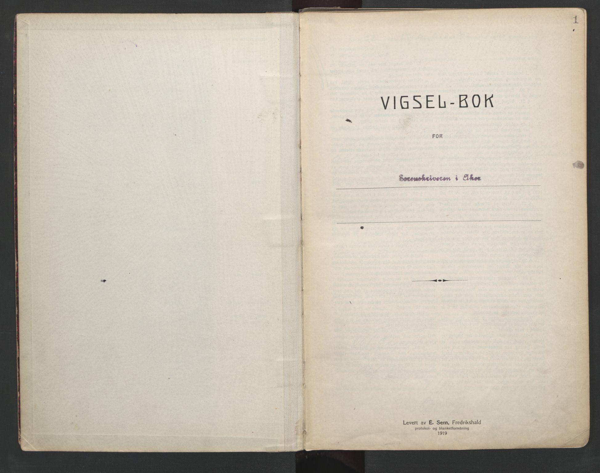 SAO, Aker sorenskriveri, L/Lc/Lcb/L0002: Vigselprotokoll, 1922-1924, s. 1